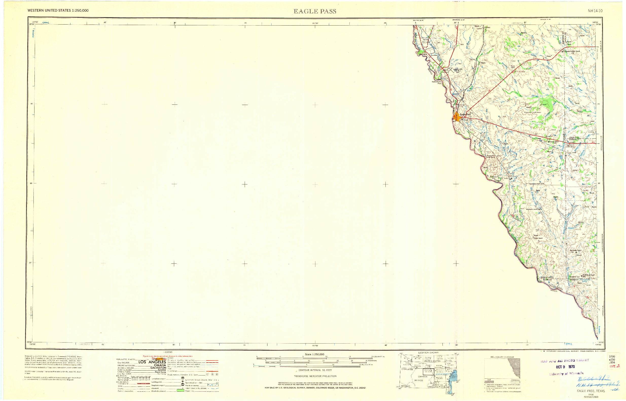 USGS 1:250000-SCALE QUADRANGLE FOR EAGLE PASS, TX 1958