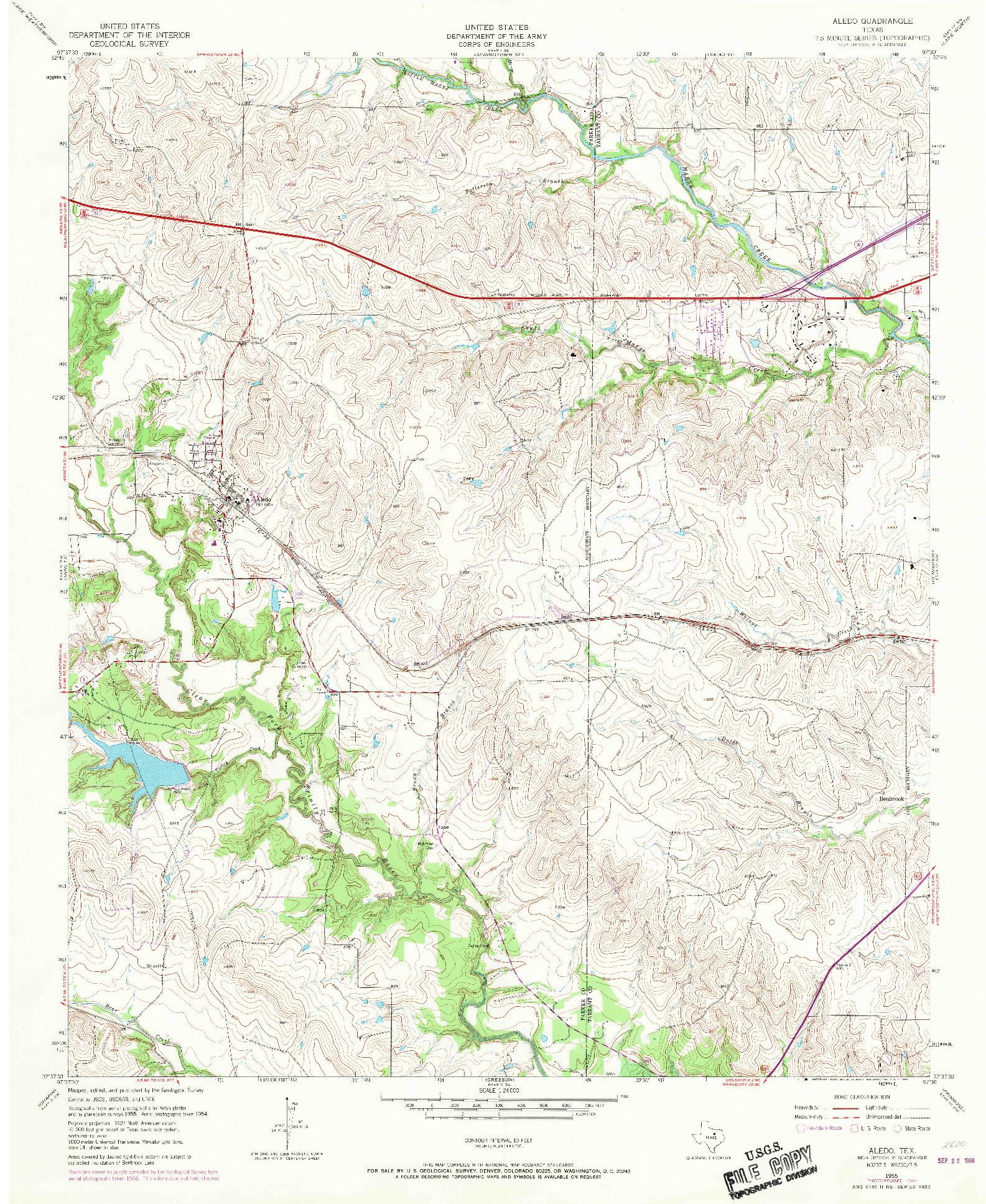 USGS 1:24000-SCALE QUADRANGLE FOR ALEDO, TX 1955