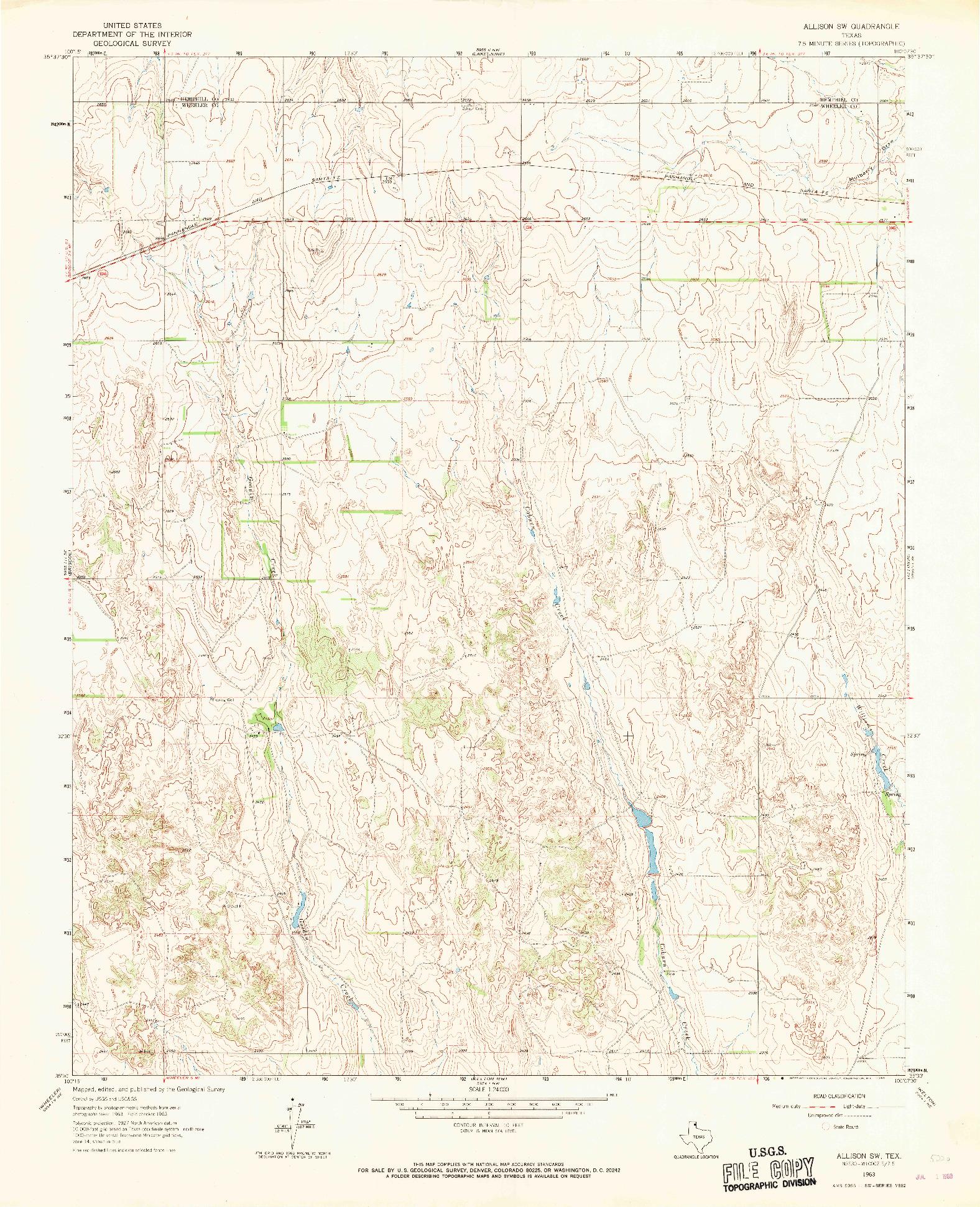 USGS 1:24000-SCALE QUADRANGLE FOR ALLISON SW, TX 1963