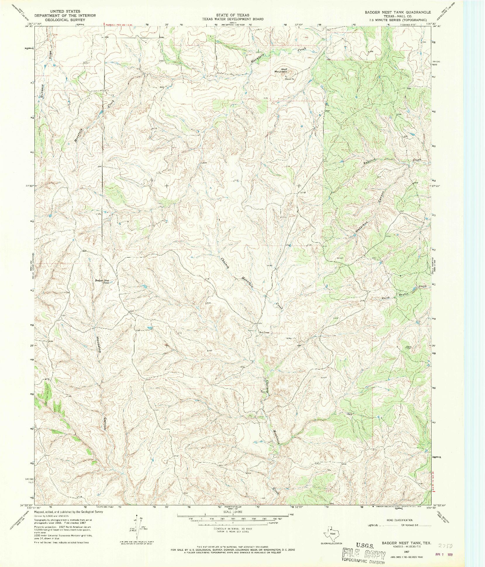 USGS 1:24000-SCALE QUADRANGLE FOR BADGER NEST TANK, TX 1967