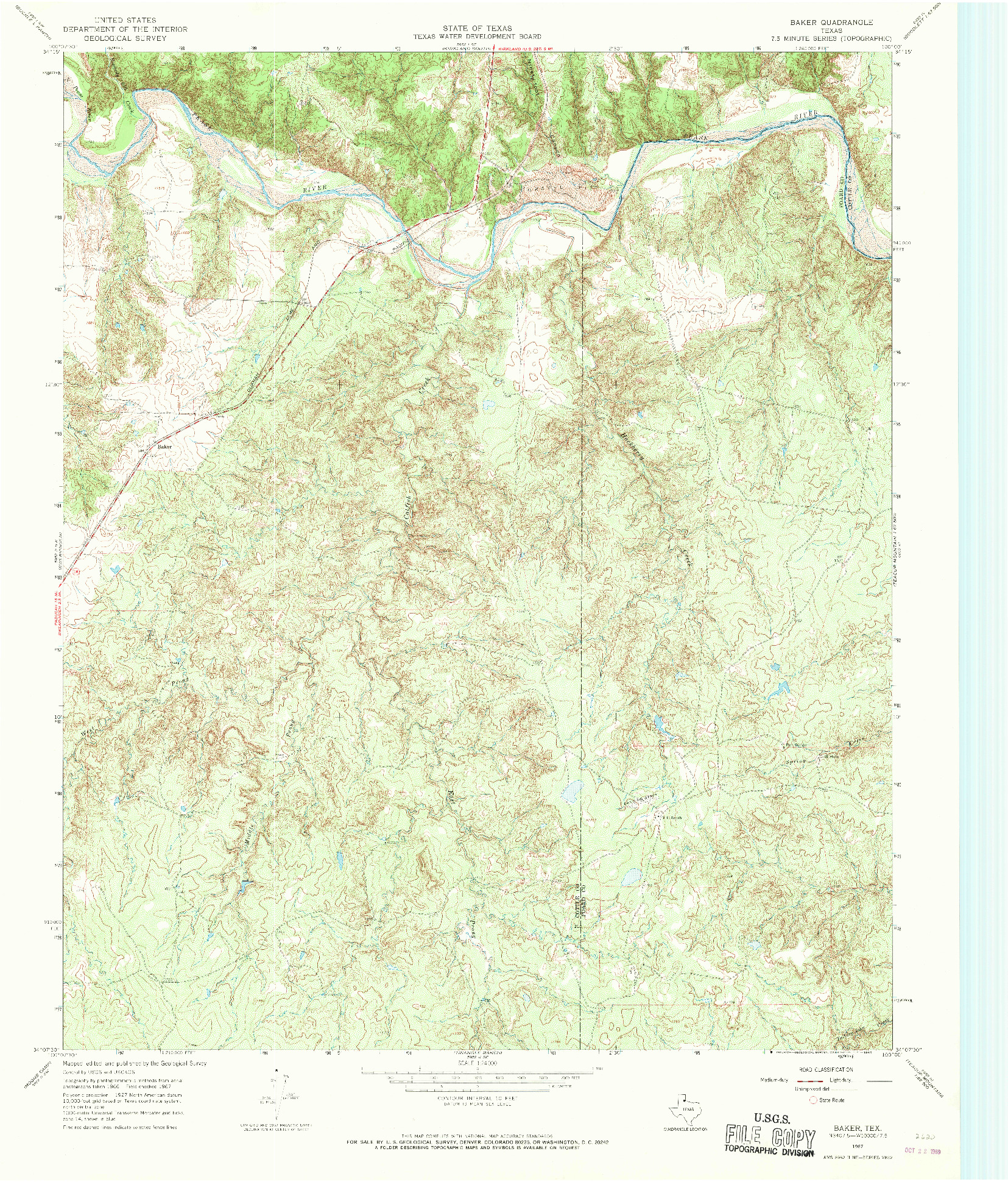 USGS 1:24000-SCALE QUADRANGLE FOR BAKER, TX 1967