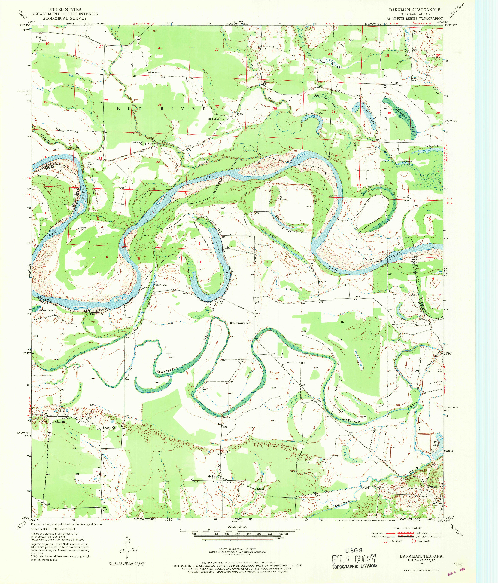 USGS 1:24000-SCALE QUADRANGLE FOR BARKMAN, TX 1950