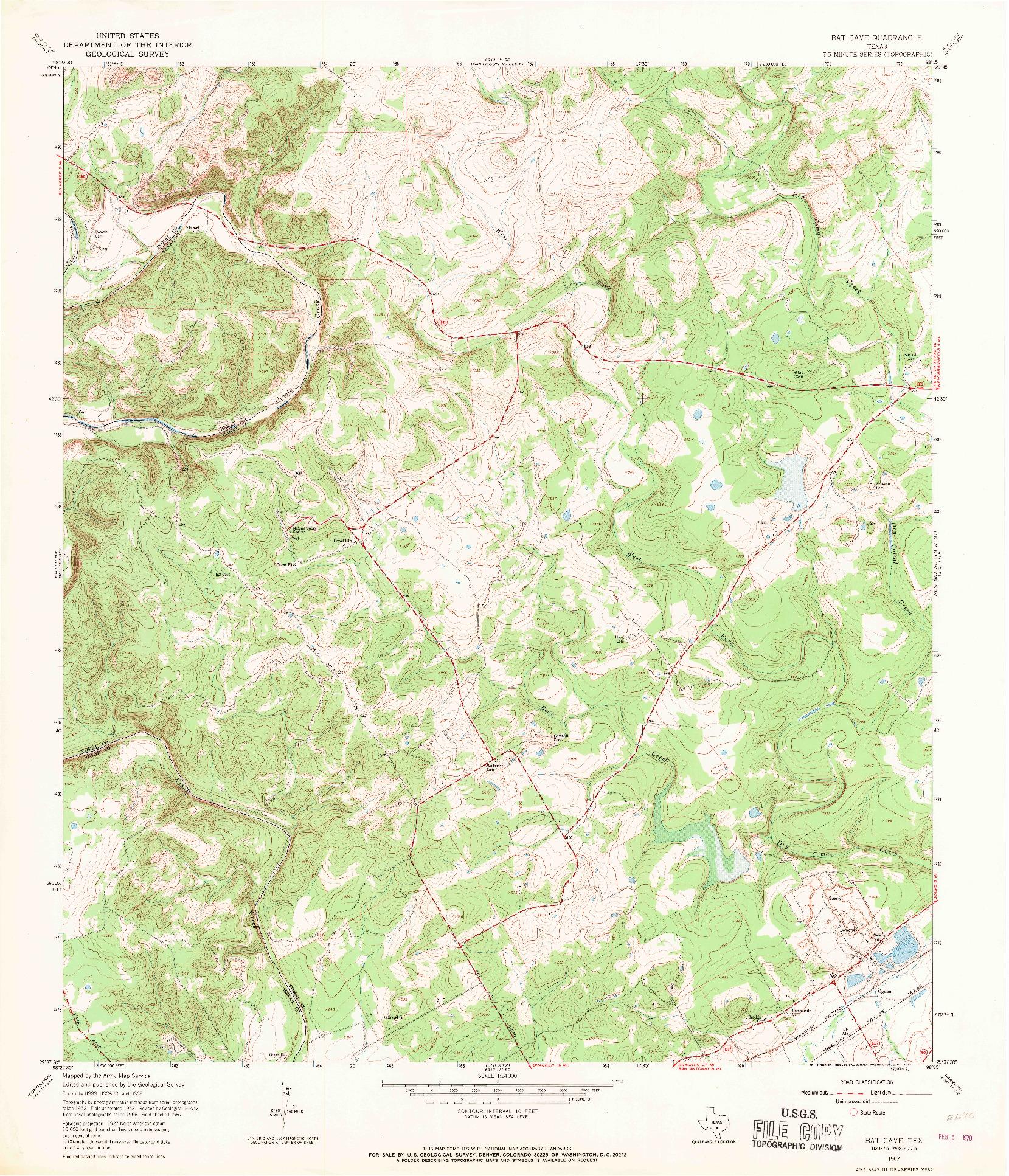 USGS 1:24000-SCALE QUADRANGLE FOR BAT CAVE, TX 1967