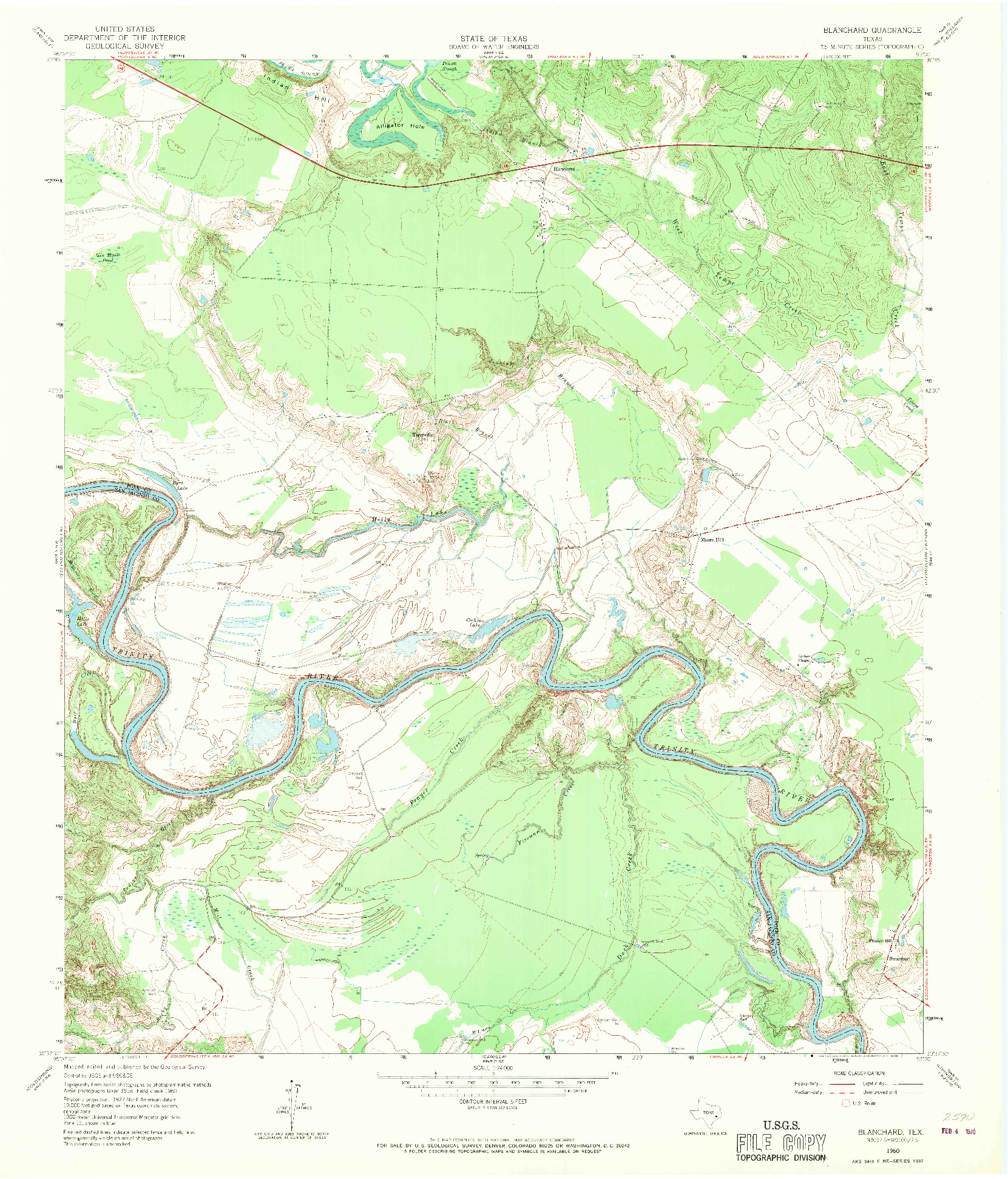 USGS 1:24000-SCALE QUADRANGLE FOR BLANCHARD, TX 1960