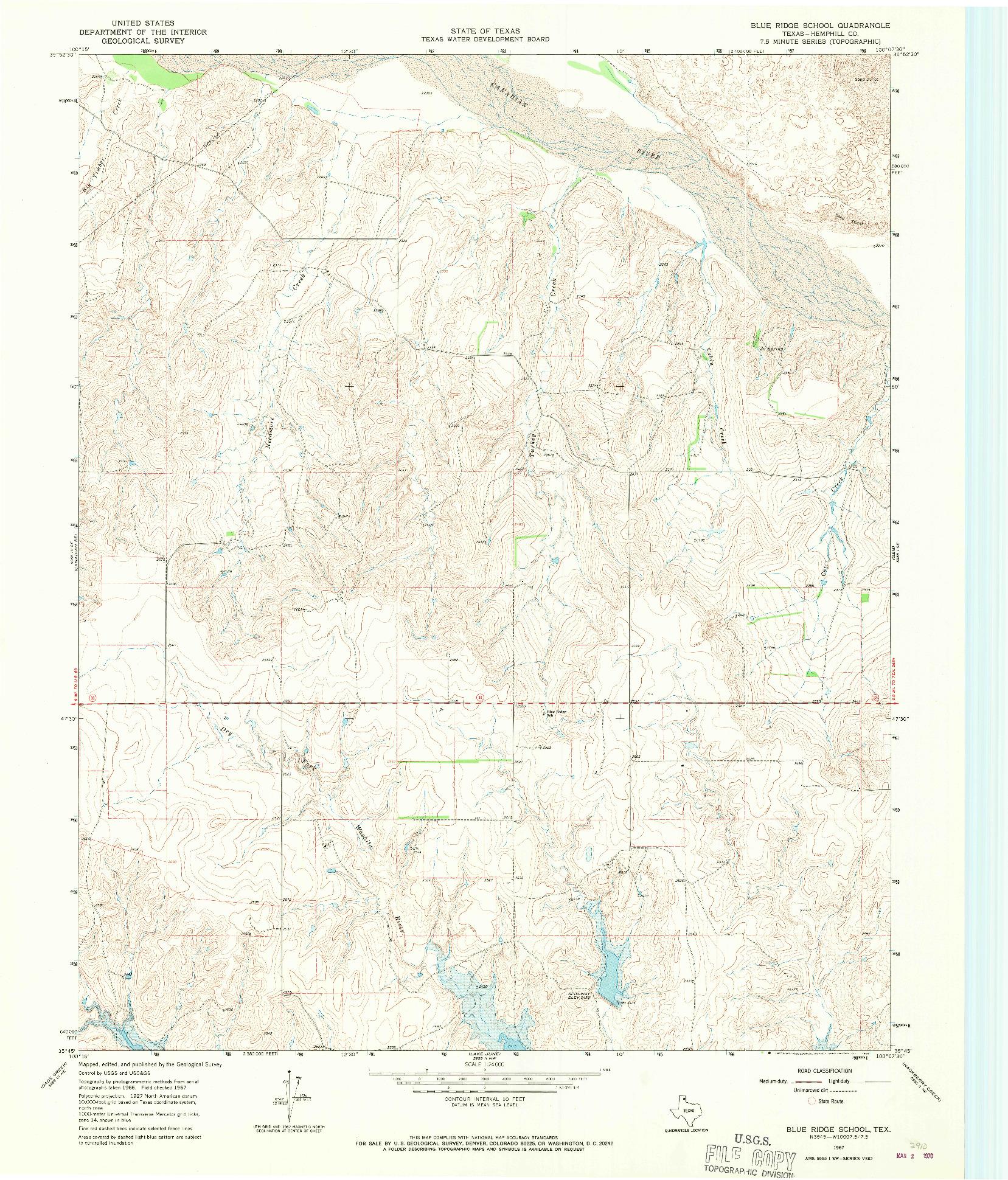 USGS 1:24000-SCALE QUADRANGLE FOR BLUE RIDGE SCHOOL, TX 1967