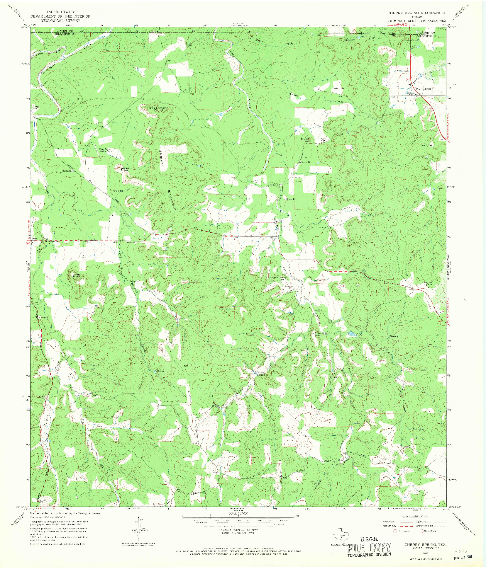 USGS 1:24000-SCALE QUADRANGLE FOR CHERRY SPRING, TX 1967