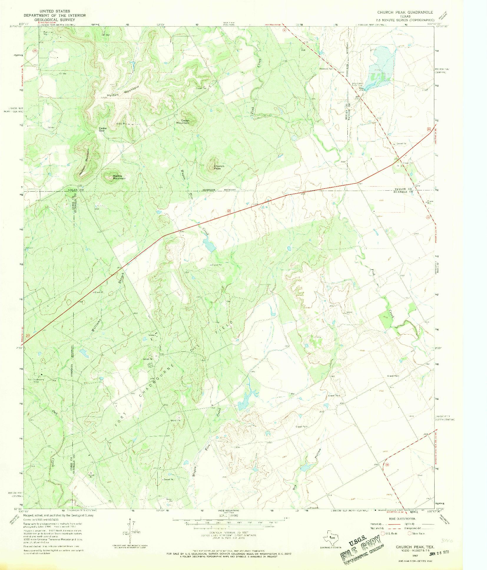 USGS 1:24000-SCALE QUADRANGLE FOR CHURCH PEAK, TX 1967