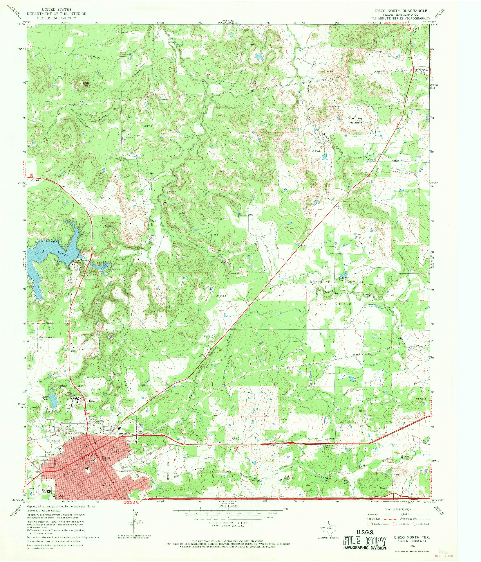 USGS 1:24000-SCALE QUADRANGLE FOR CISCO NORTH, TX 1966