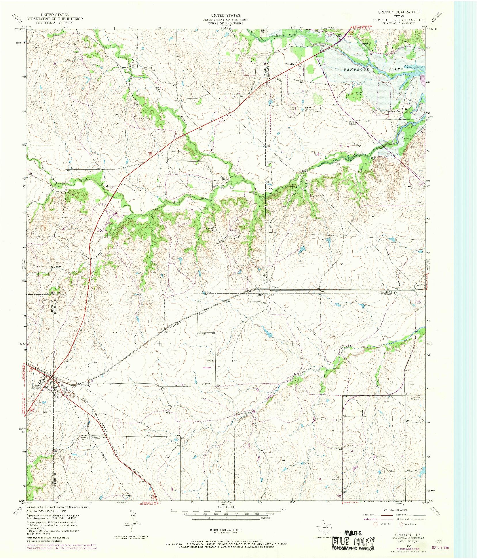 USGS 1:24000-SCALE QUADRANGLE FOR CRESSON, TX 1955