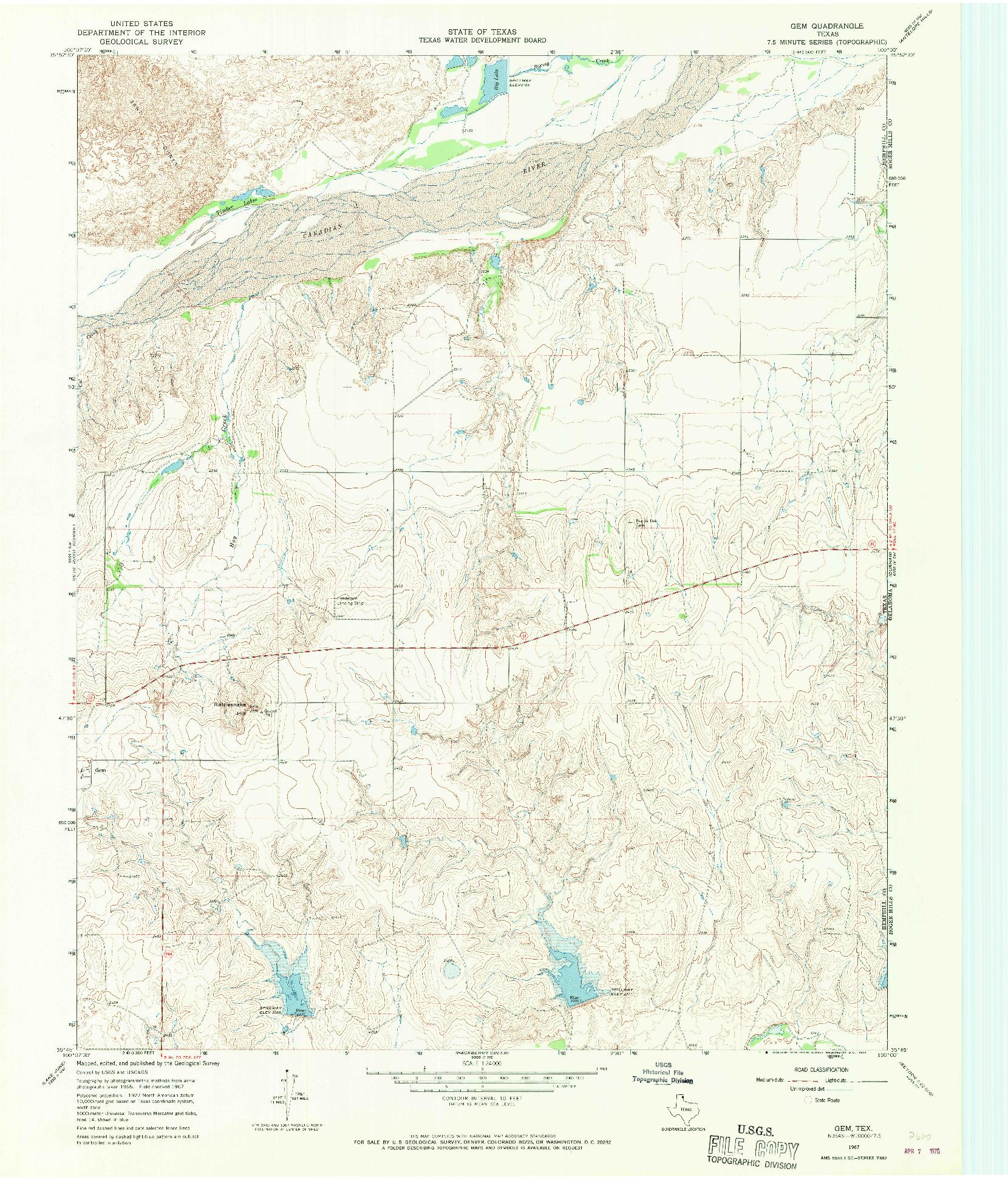 USGS 1:24000-SCALE QUADRANGLE FOR GEM, TX 1967