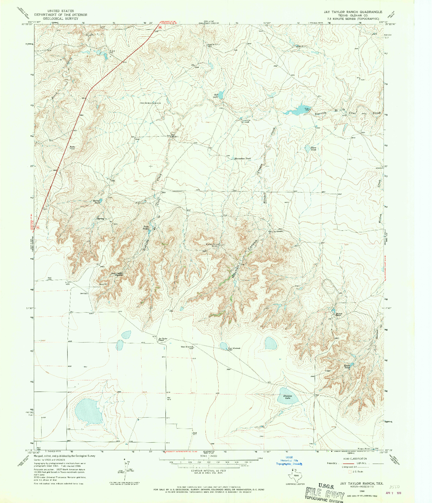 USGS 1:24000-SCALE QUADRANGLE FOR JAY TAYLOR RANCH, TX 1966
