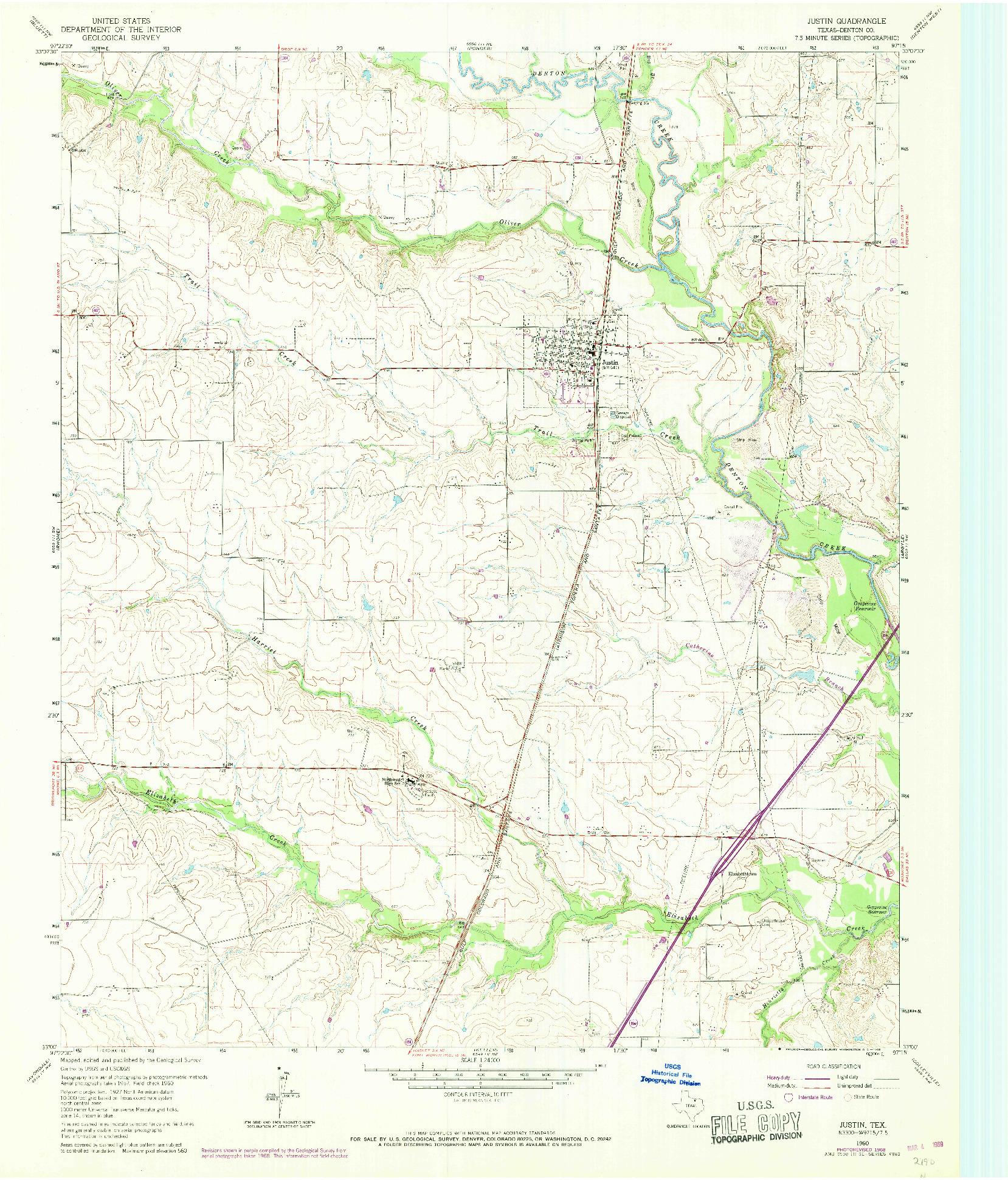 USGS 1:24000-SCALE QUADRANGLE FOR JUSTIN, TX 1960