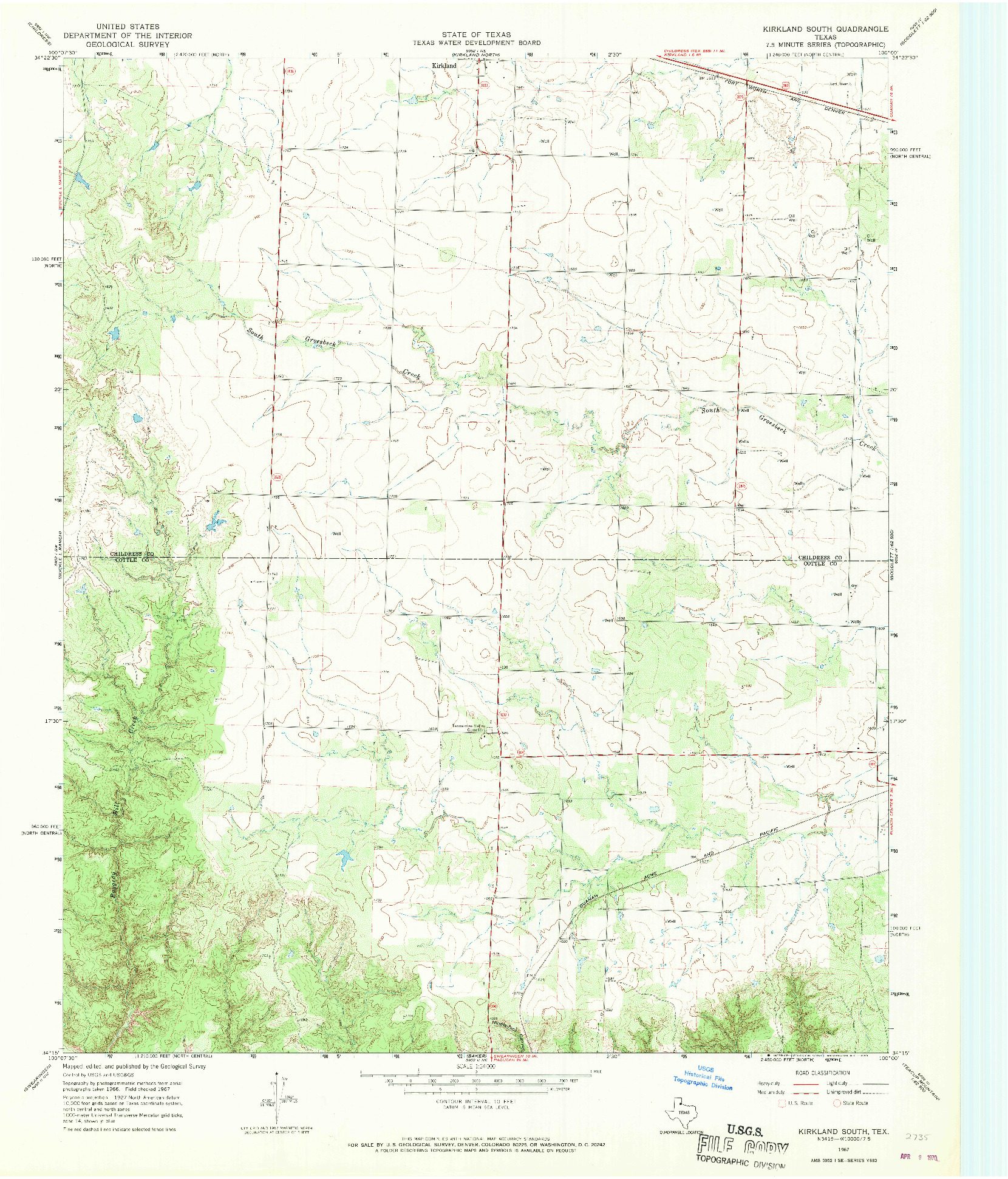 USGS 1:24000-SCALE QUADRANGLE FOR KIRKLAND SOUTH, TX 1967