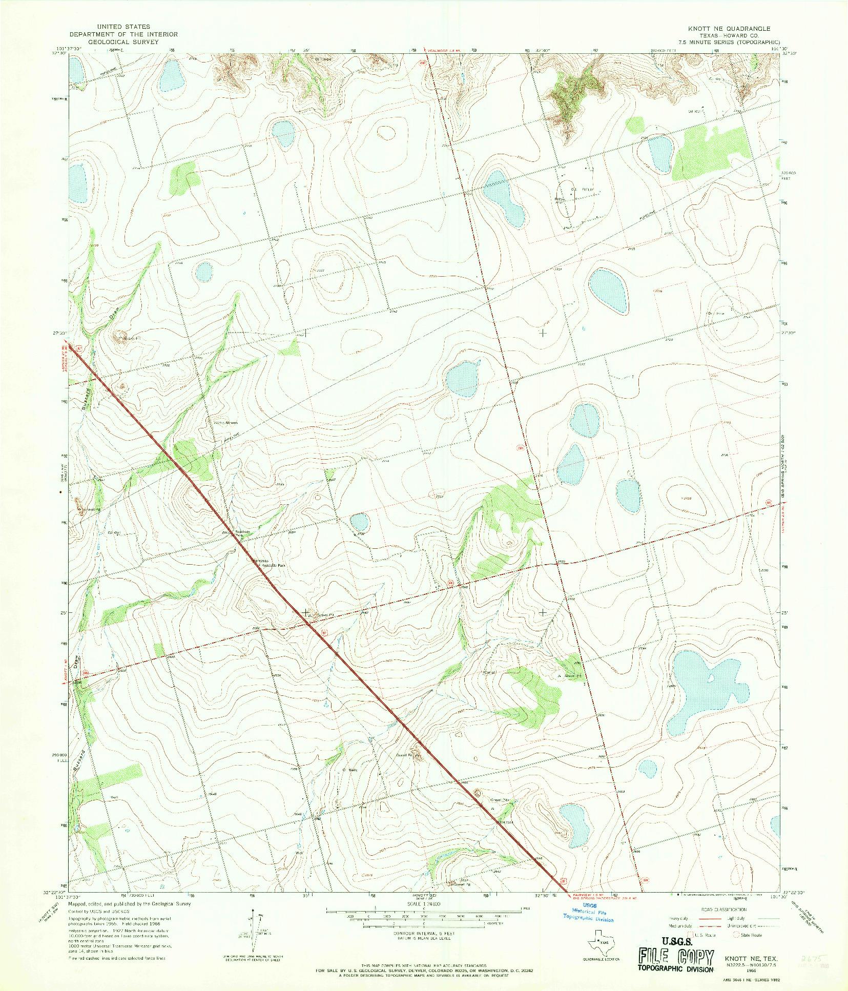 USGS 1:24000-SCALE QUADRANGLE FOR KNOTT NE, TX 1966