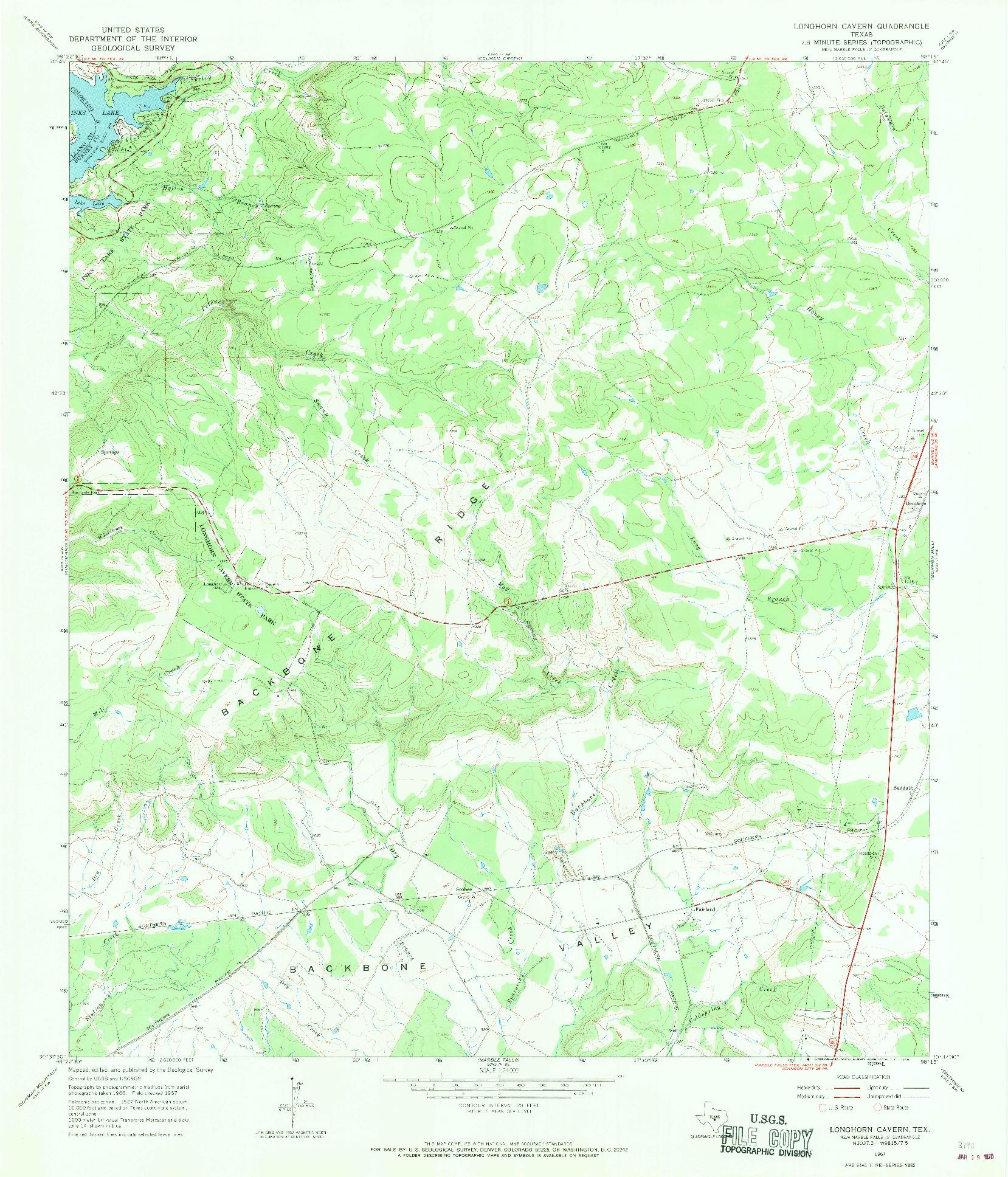 USGS 1:24000-SCALE QUADRANGLE FOR LONGHORN CAVERN, TX 1967