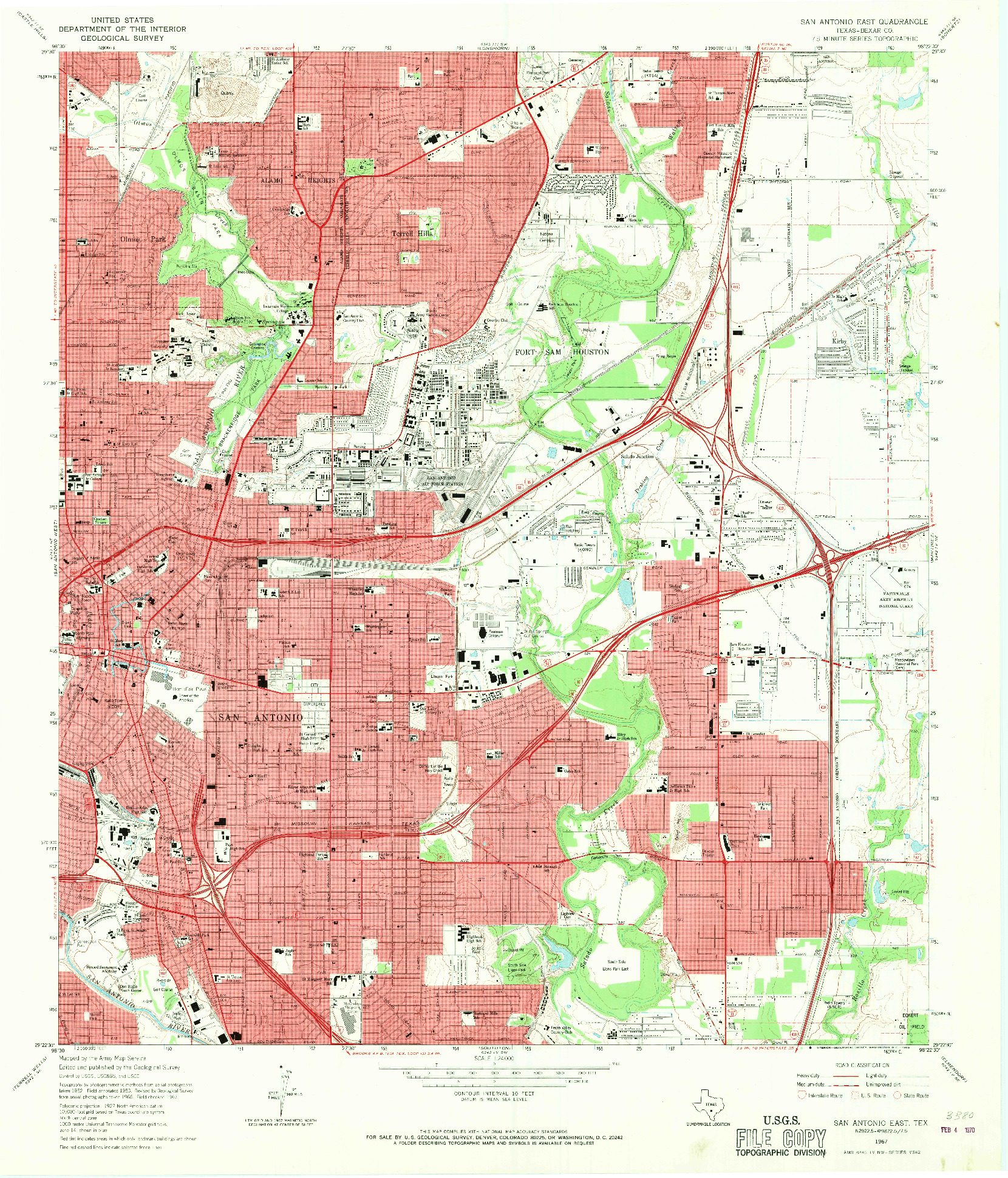 USGS 1:24000-SCALE QUADRANGLE FOR SAN ANTONIO EAST, TX 1967