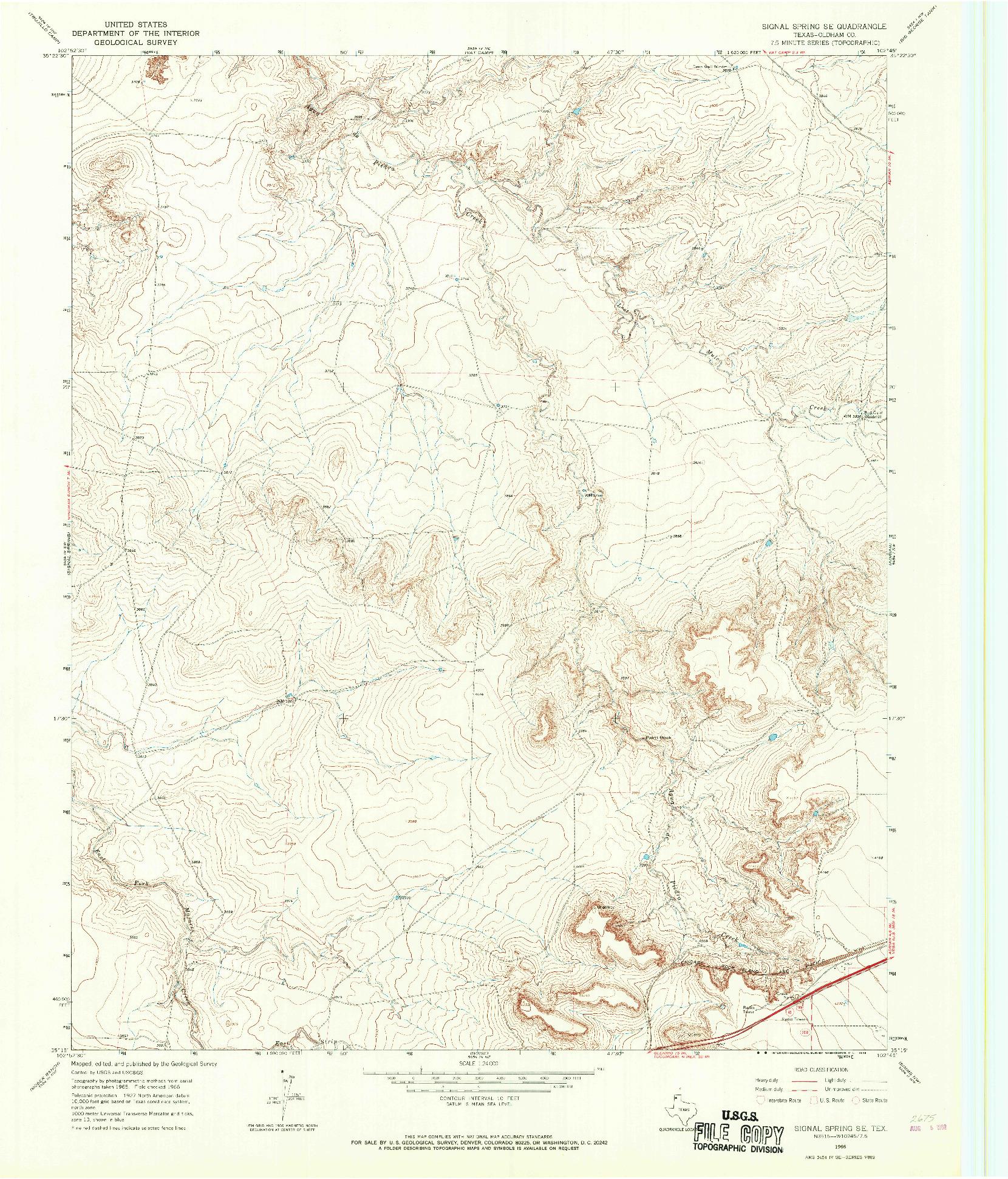 USGS 1:24000-SCALE QUADRANGLE FOR SIGNAL SPRING SE, TX 1966