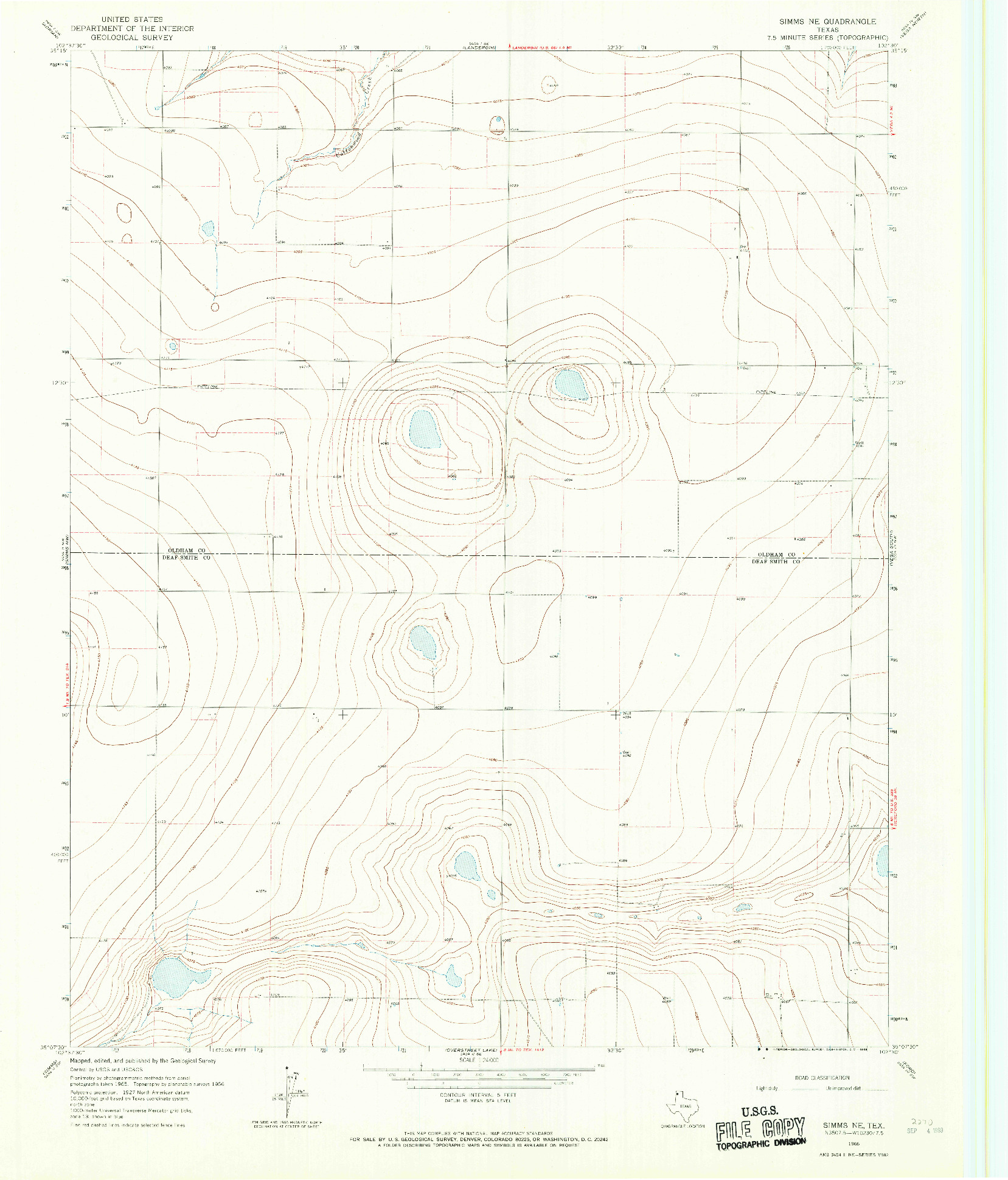 USGS 1:24000-SCALE QUADRANGLE FOR SIMMS NE, TX 1966