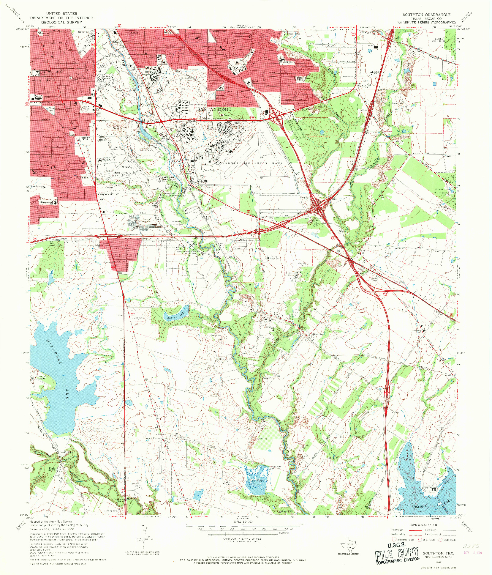 USGS 1:24000-SCALE QUADRANGLE FOR SOUTHTON, TX 1967
