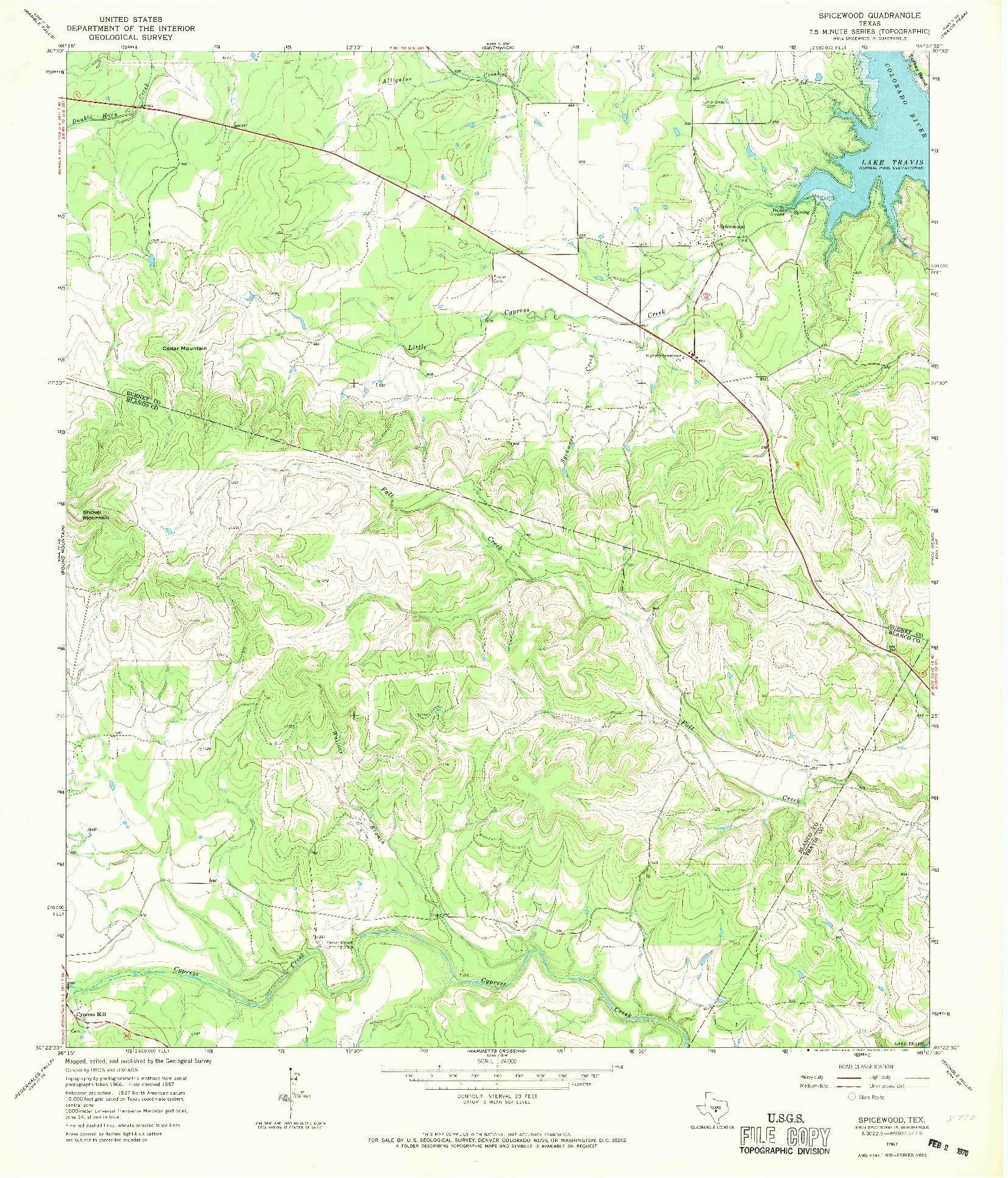 USGS 1:24000-SCALE QUADRANGLE FOR SPICEWOOD, TX 1967