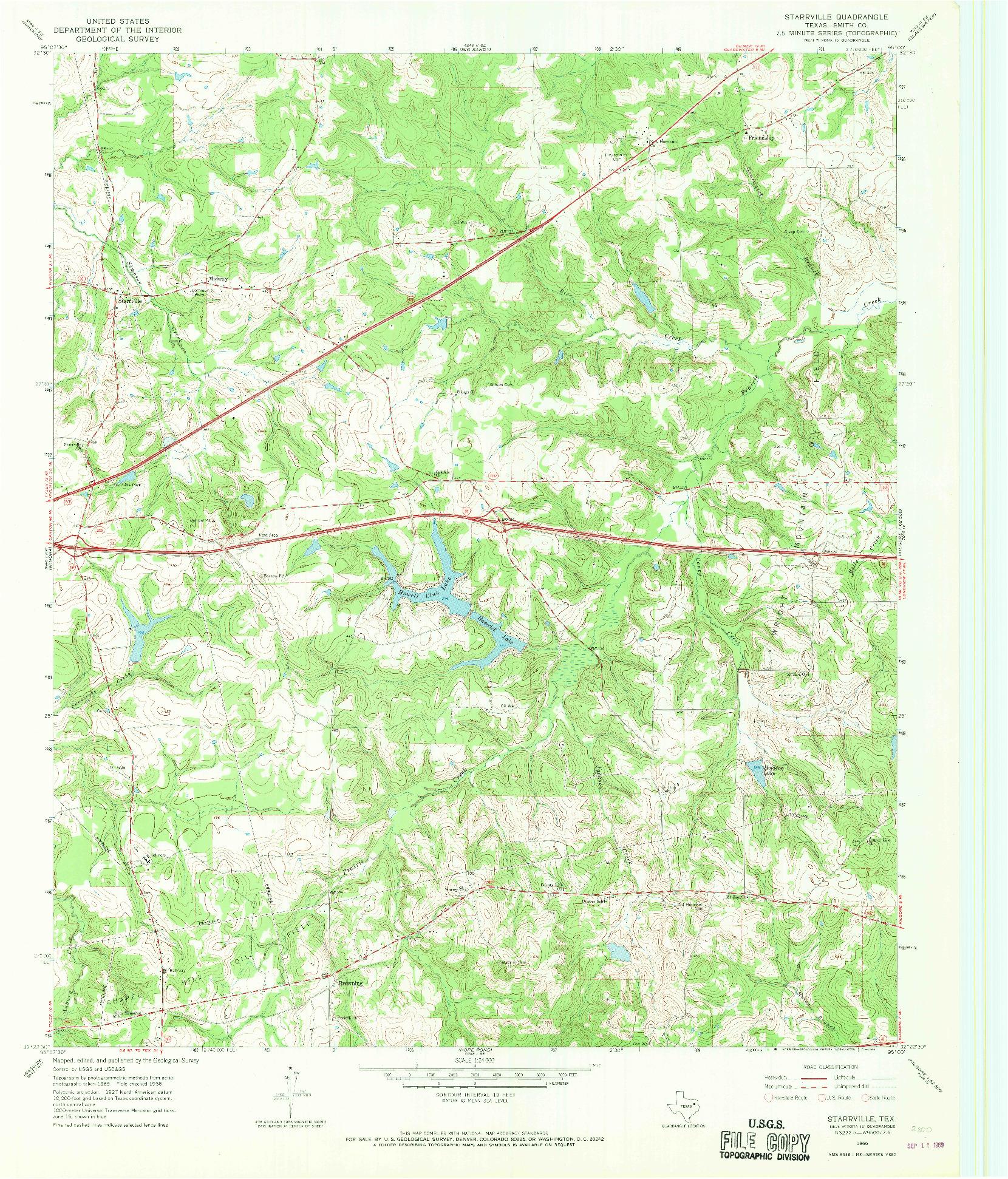USGS 1:24000-SCALE QUADRANGLE FOR STARRVILLE, TX 1966