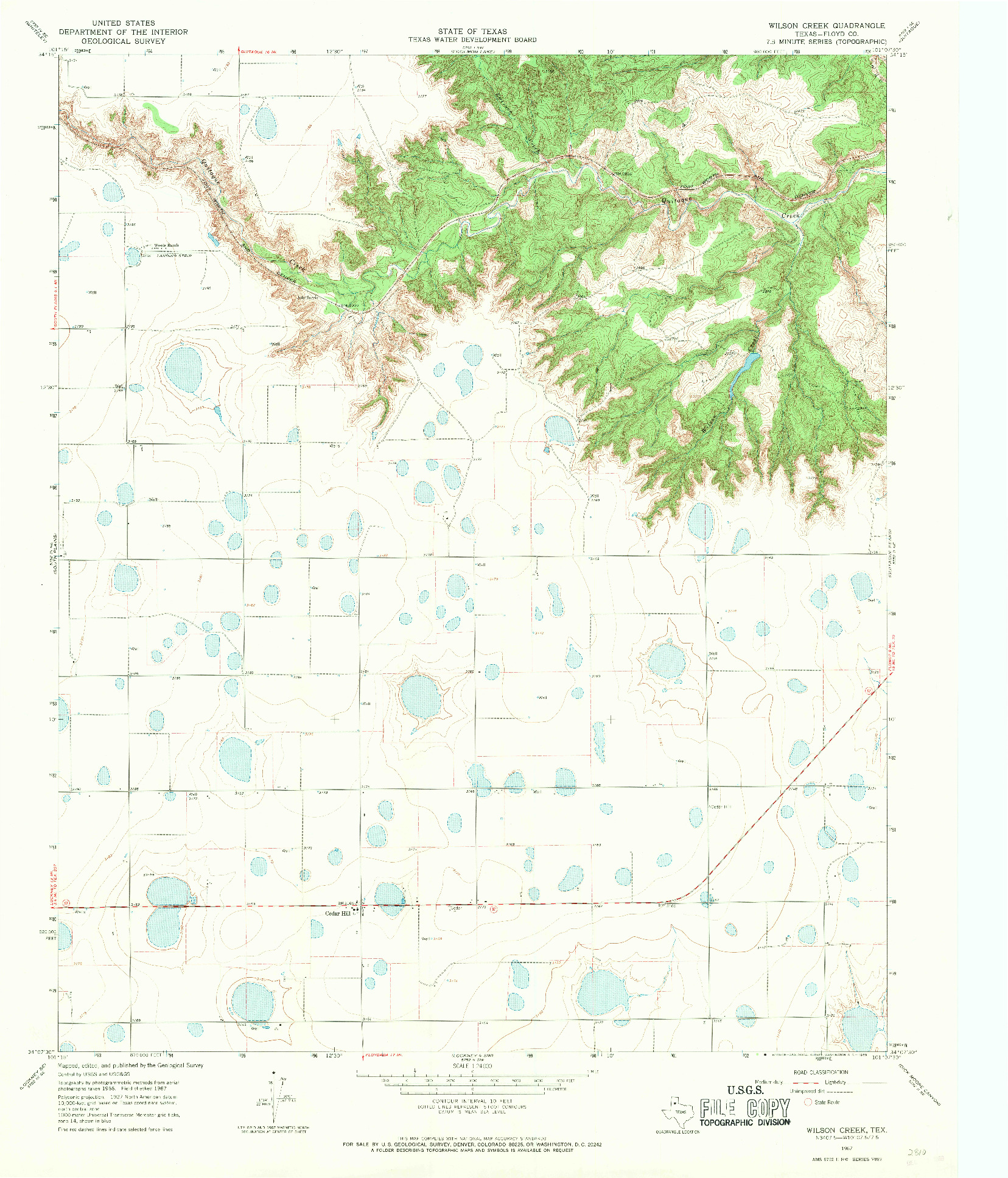 USGS 1:24000-SCALE QUADRANGLE FOR WILSON CREEK, TX 1967