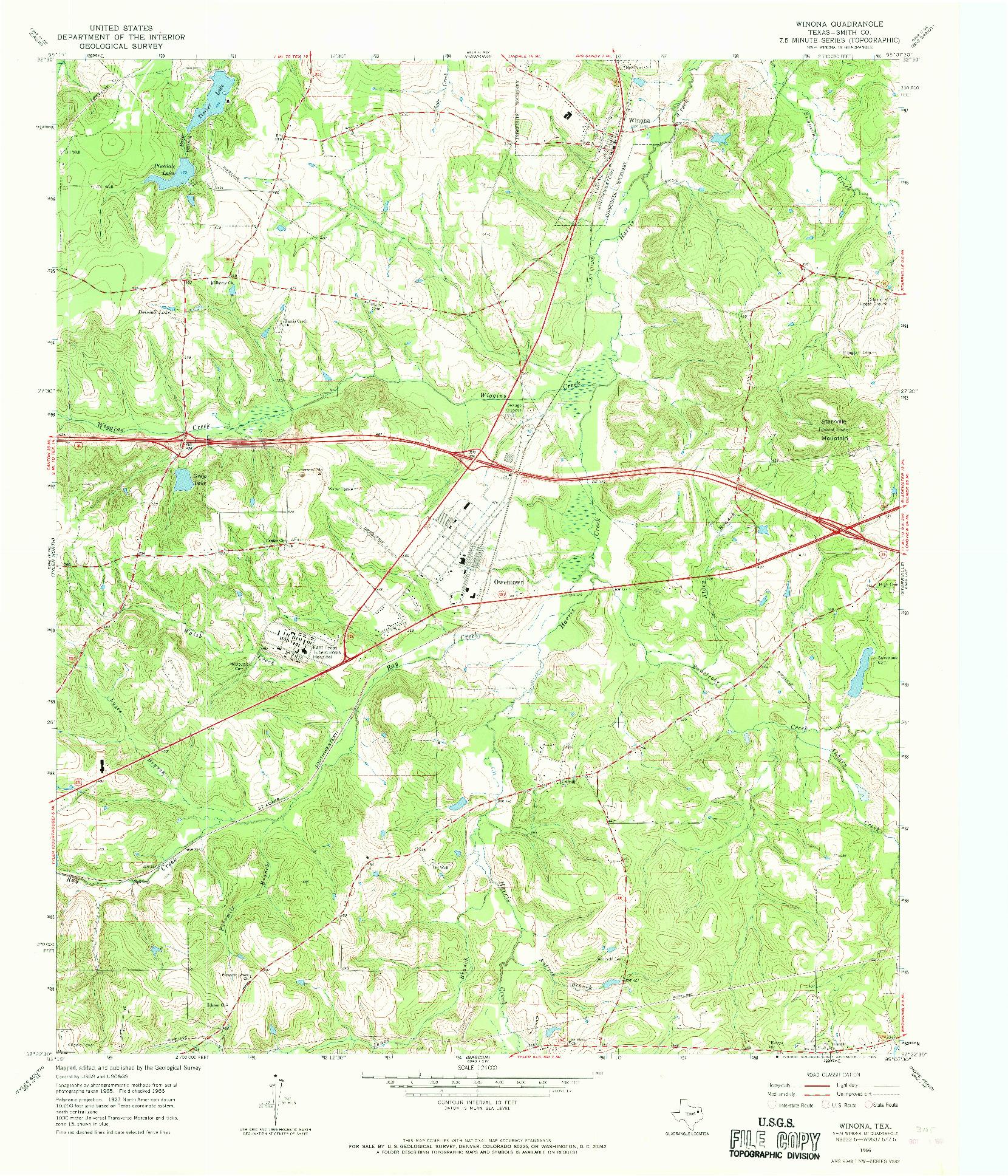 USGS 1:24000-SCALE QUADRANGLE FOR WINONA, TX 1966