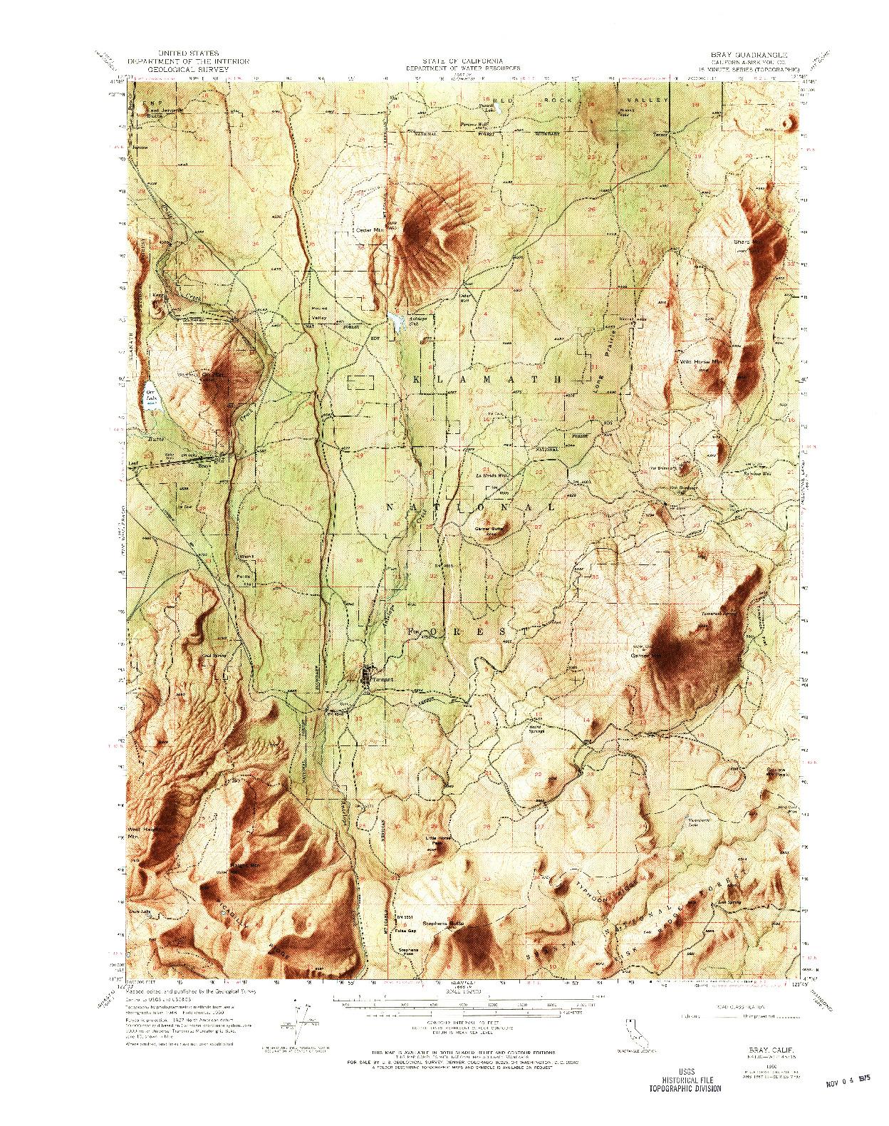 USGS 1:62500-SCALE QUADRANGLE FOR BRAY, CA 1950