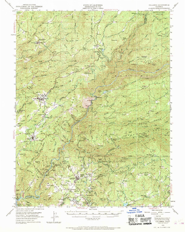 USGS 1:62500-SCALE QUADRANGLE FOR COLUMBIA, CA 1948