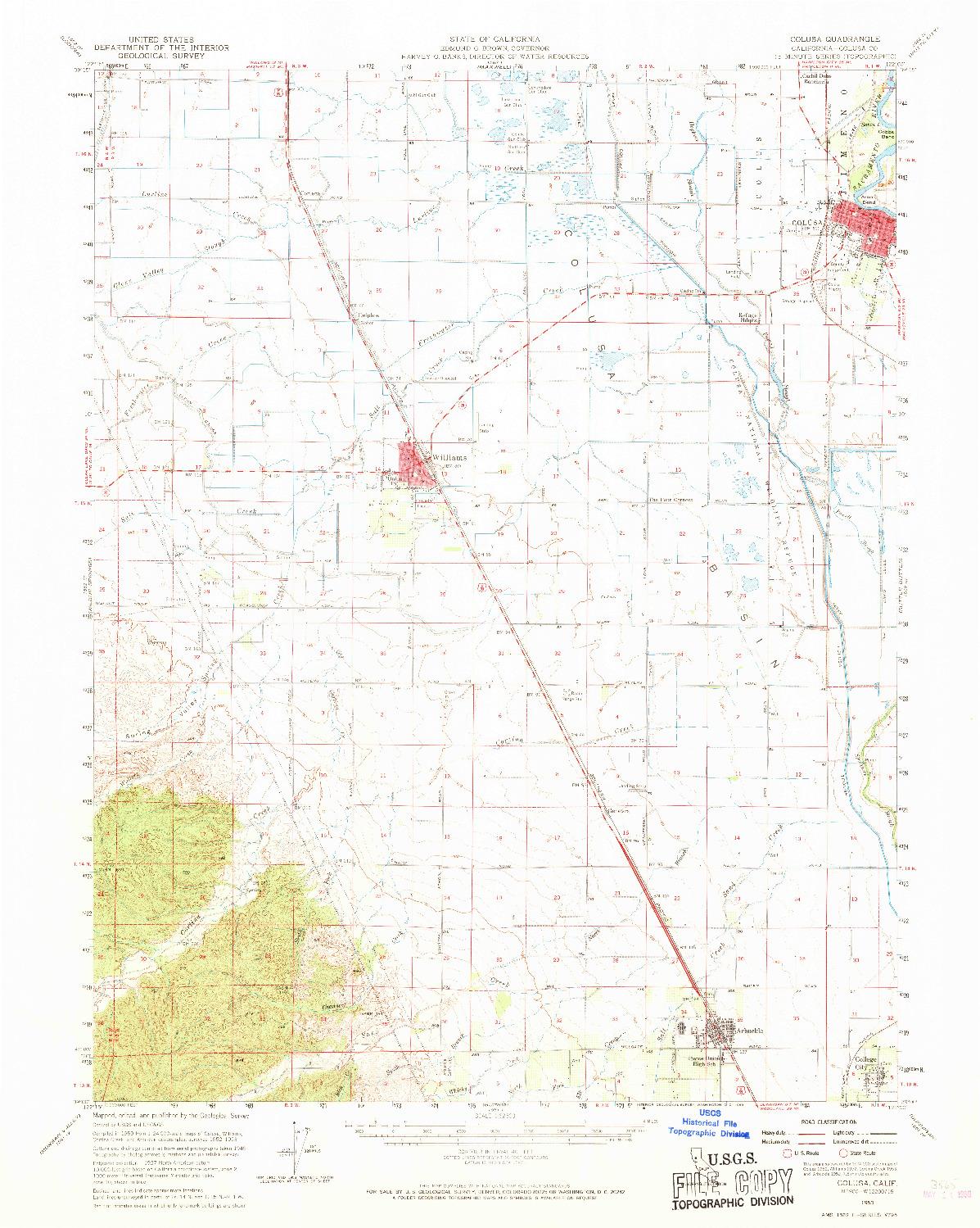 USGS 1:62500-SCALE QUADRANGLE FOR COLUSA, CA 1953