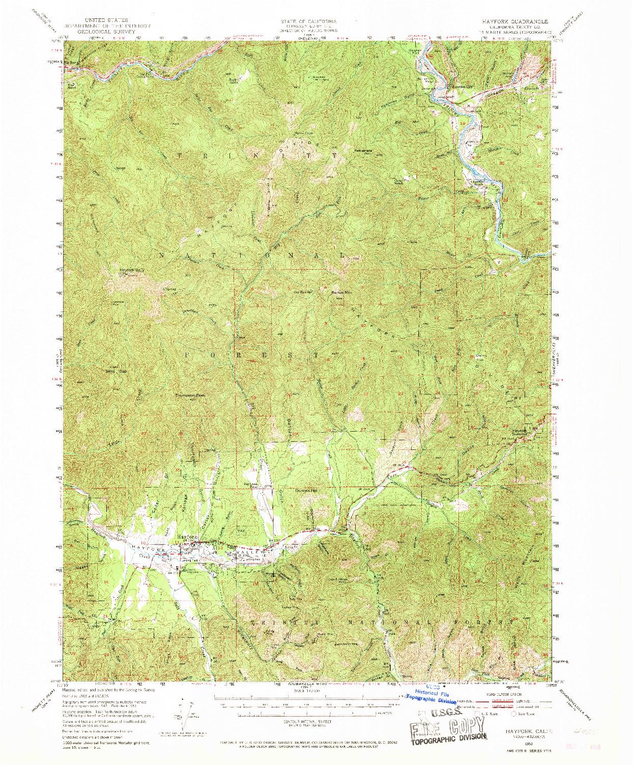 USGS 1:62500-SCALE QUADRANGLE FOR HAYFORK, CA 1951