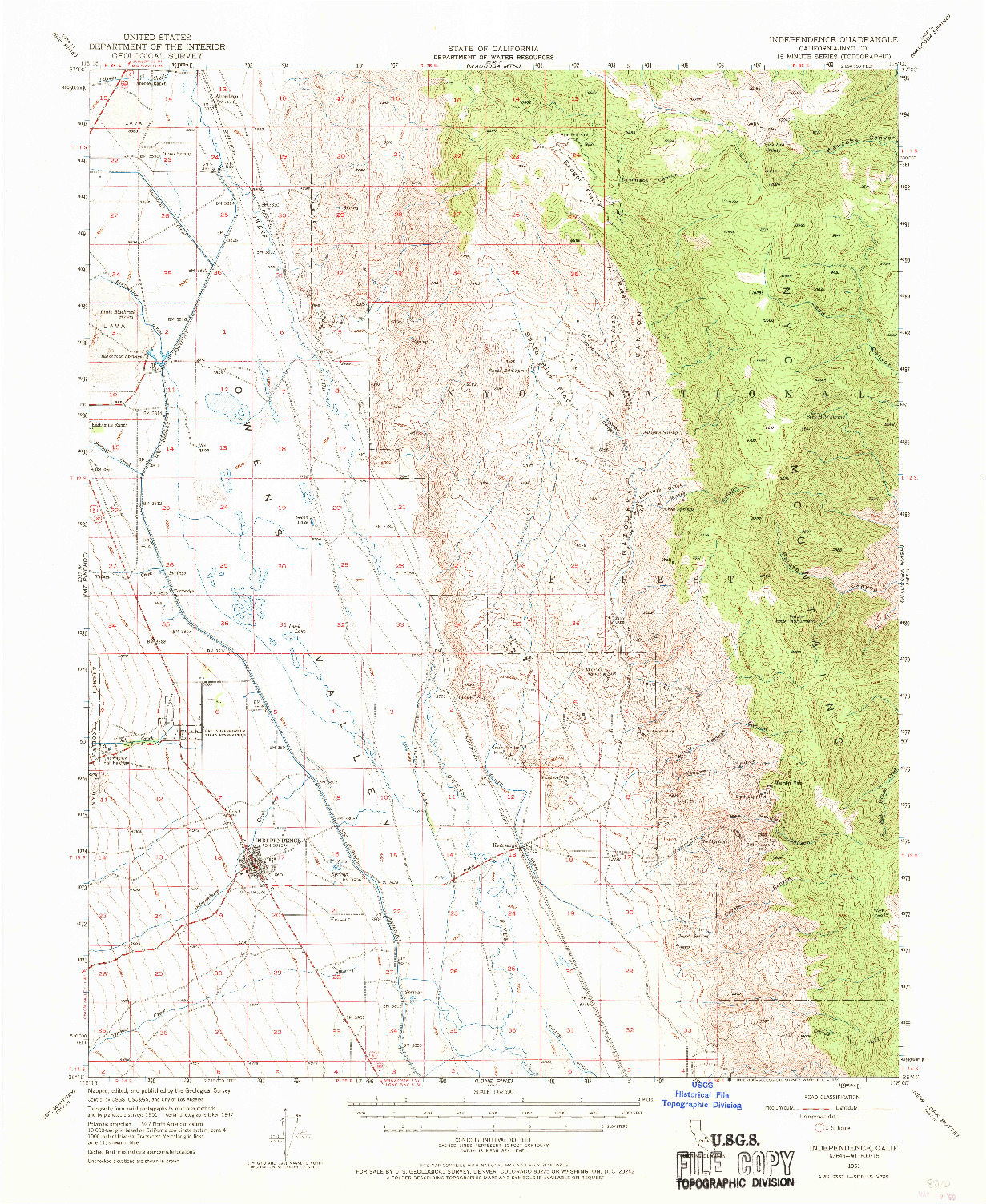 USGS 1:62500-SCALE QUADRANGLE FOR INDEPENDENCE, CA 1951