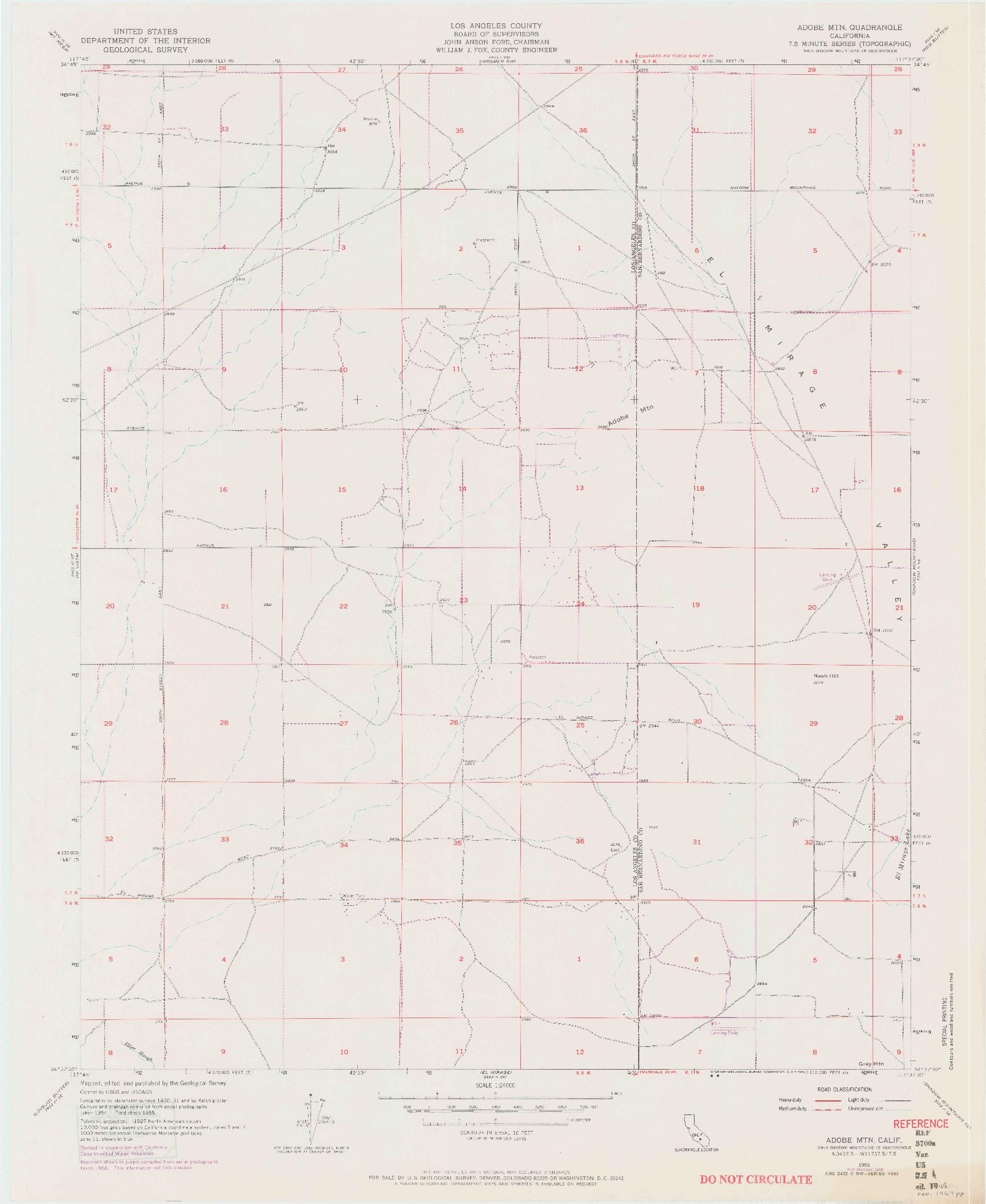 USGS 1:24000-SCALE QUADRANGLE FOR ADOBE MOUNTAIN, CA 1955