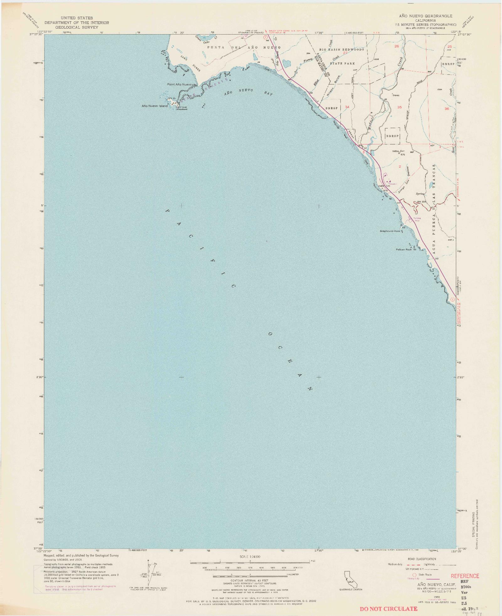 USGS 1:24000-SCALE QUADRANGLE FOR ANO NUEVO, CA 1955