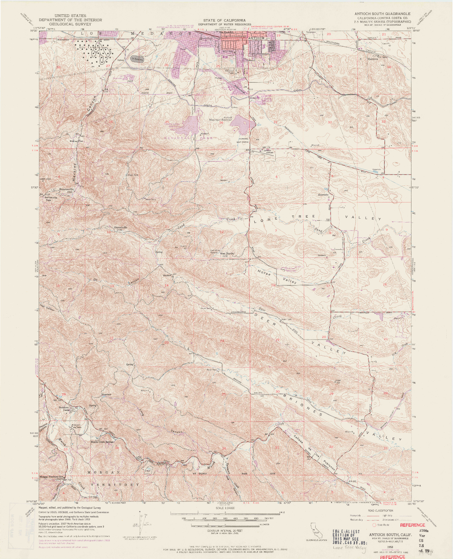 USGS 1:24000-SCALE QUADRANGLE FOR ANTIOCH SOUTH, CA 1953