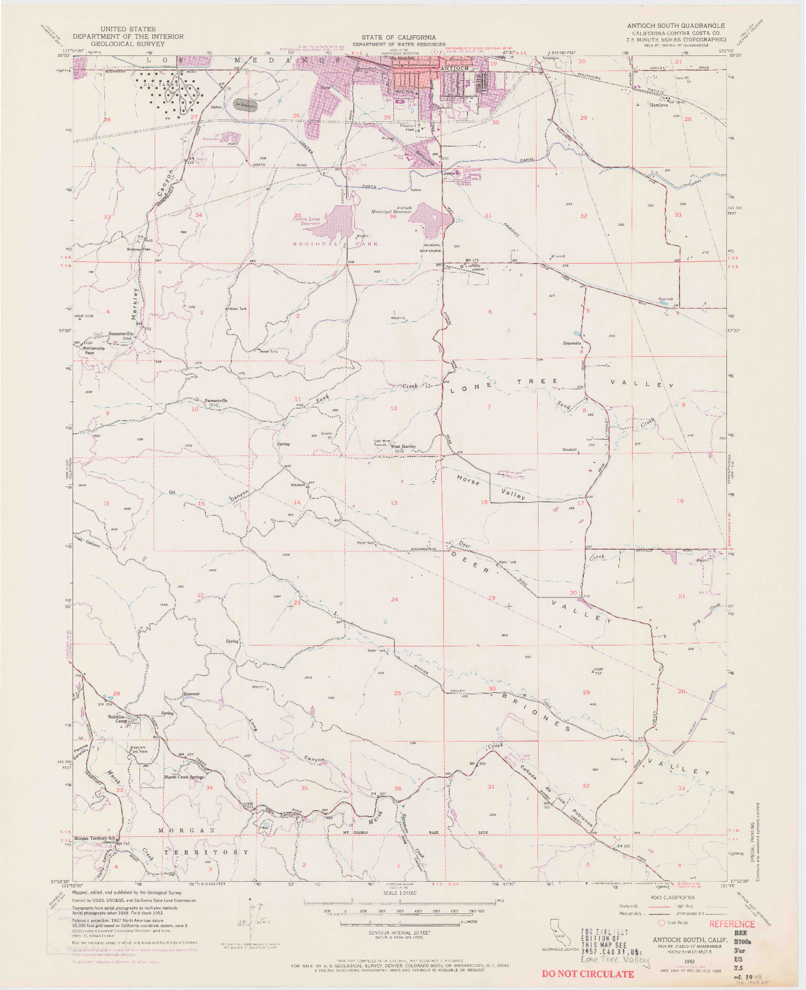 USGS 1:24000-SCALE QUADRANGLE FOR ANTIOCH SOUTH, CA 1953