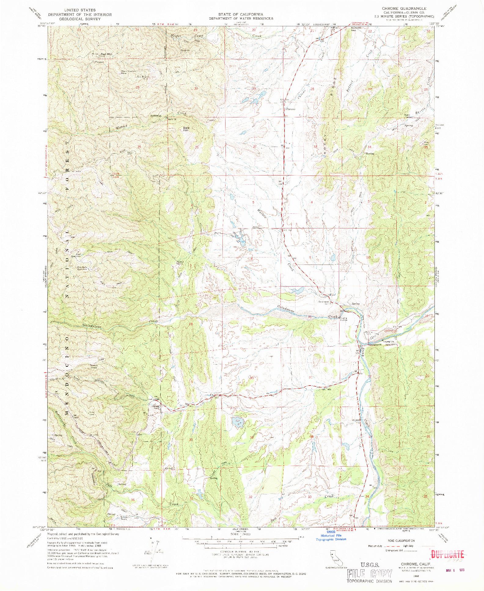 USGS 1:24000-SCALE QUADRANGLE FOR CHROME, CA 1968