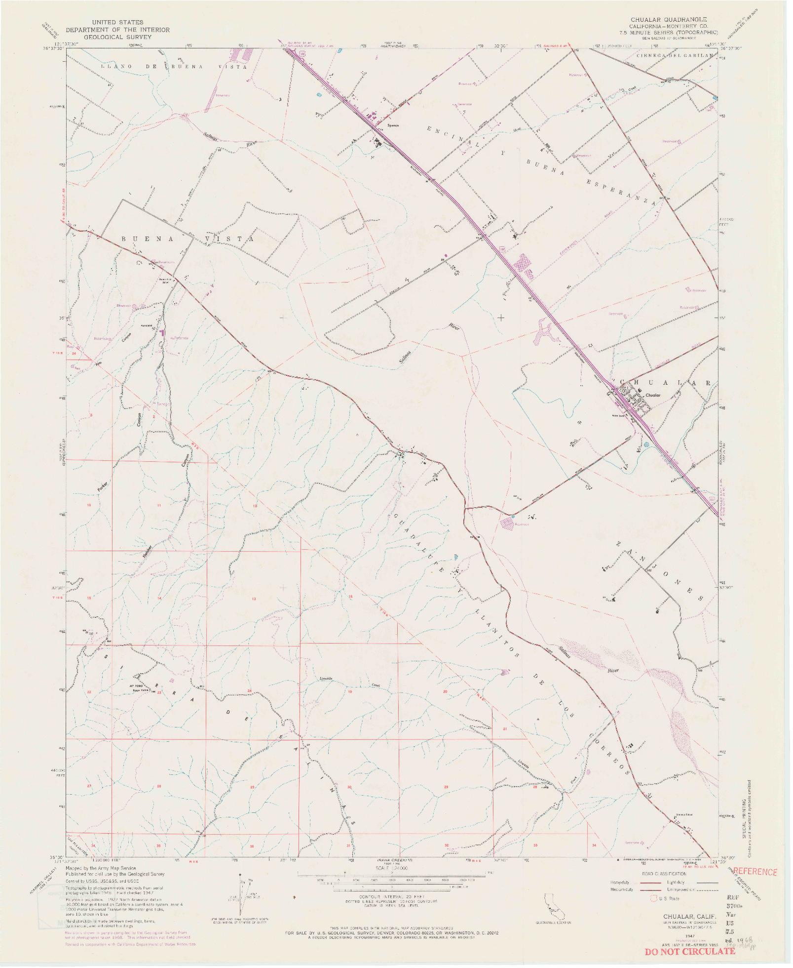 USGS 1:24000-SCALE QUADRANGLE FOR CHUALAR, CA 1947