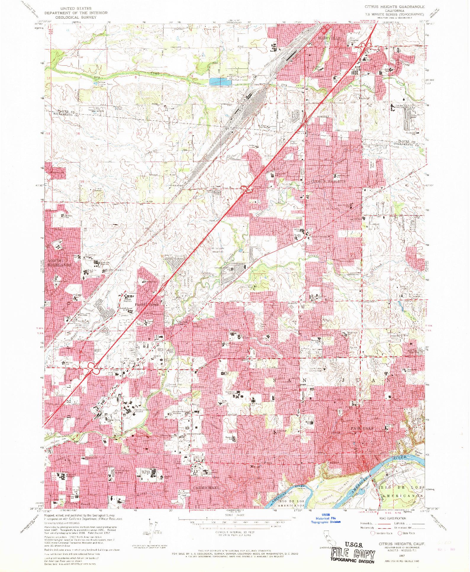USGS 1:24000-SCALE QUADRANGLE FOR CITRUS HEIGHTS, CA 1967