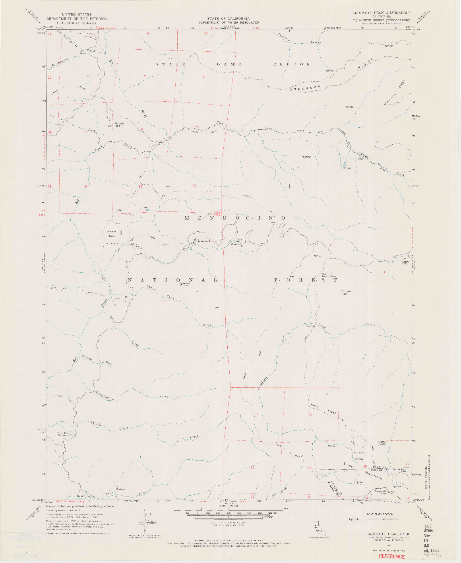USGS 1:24000-SCALE QUADRANGLE FOR CROCKETT PEAK, CA 1967