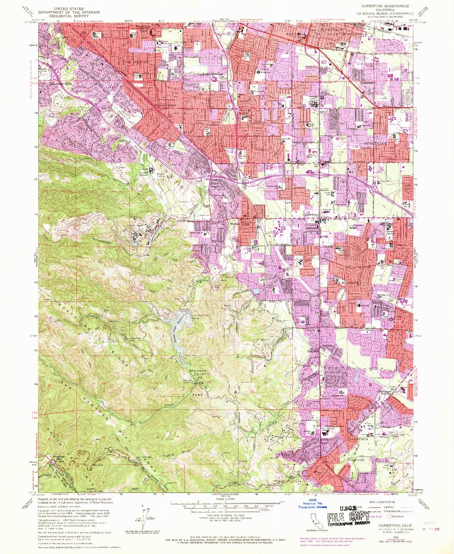 USGS 1:24000-SCALE QUADRANGLE FOR CUPERTINO, CA 1961