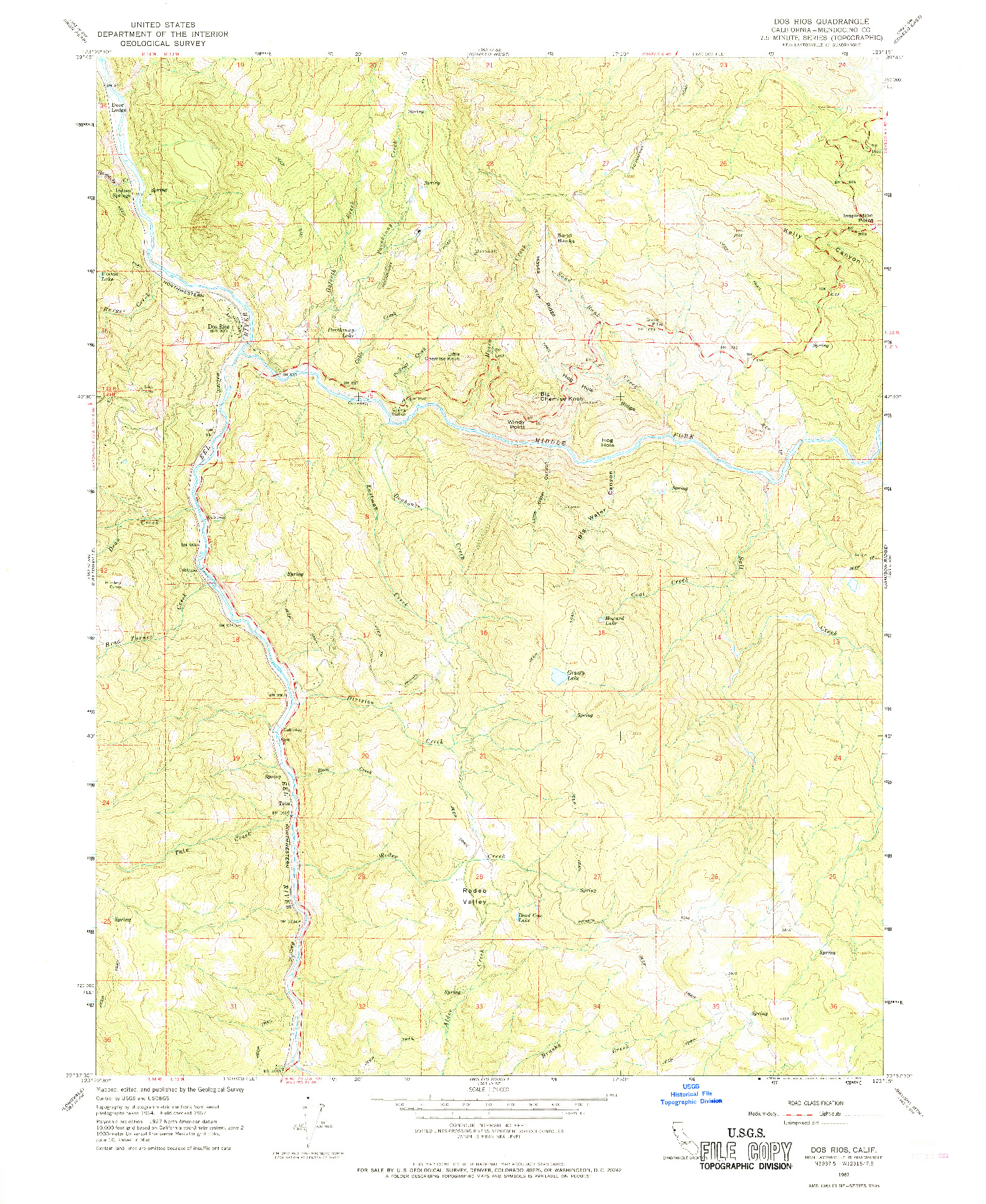USGS 1:24000-SCALE QUADRANGLE FOR DOS RIOS, CA 1967