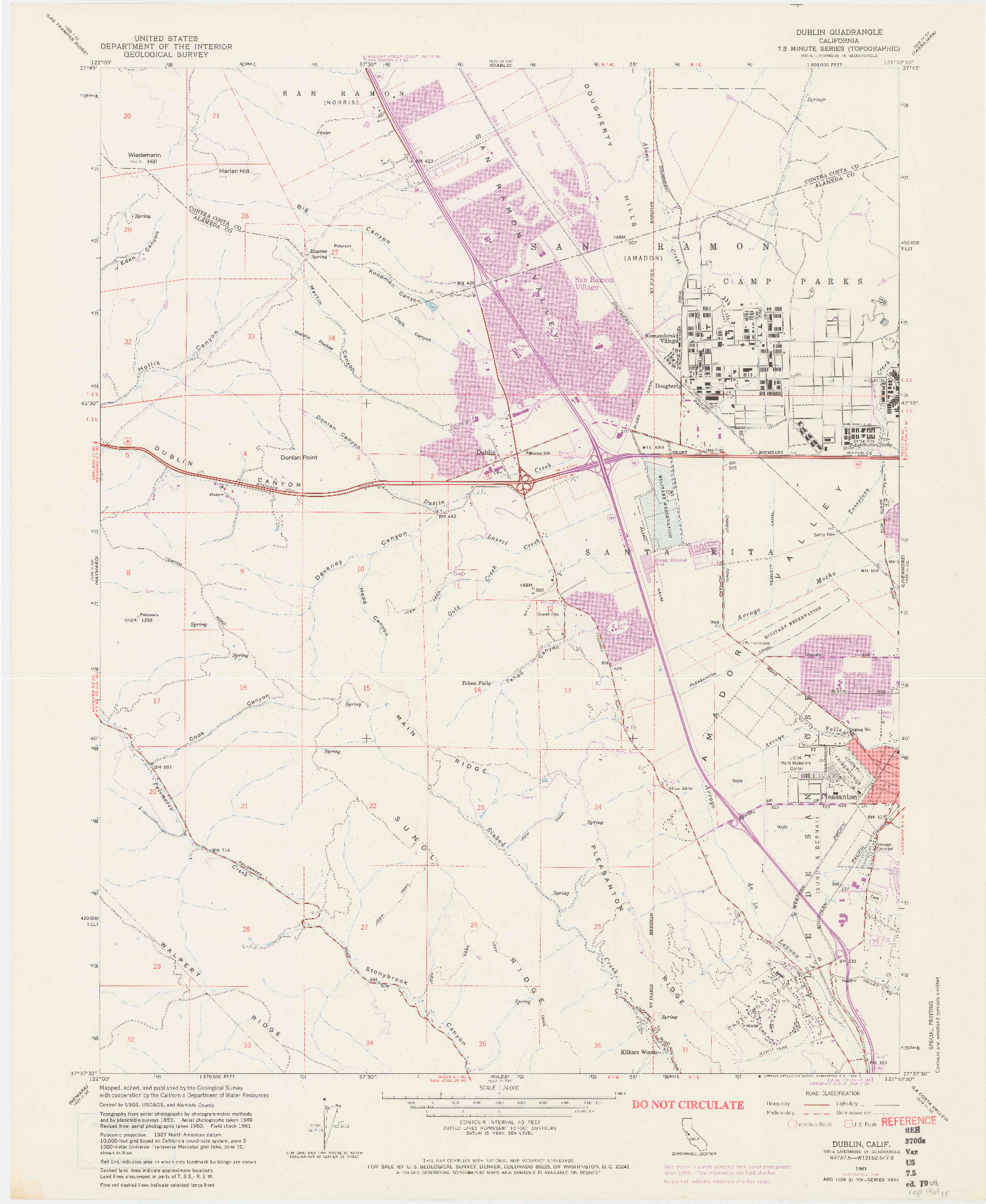 USGS 1:24000-SCALE QUADRANGLE FOR DUBLIN, CA 1961