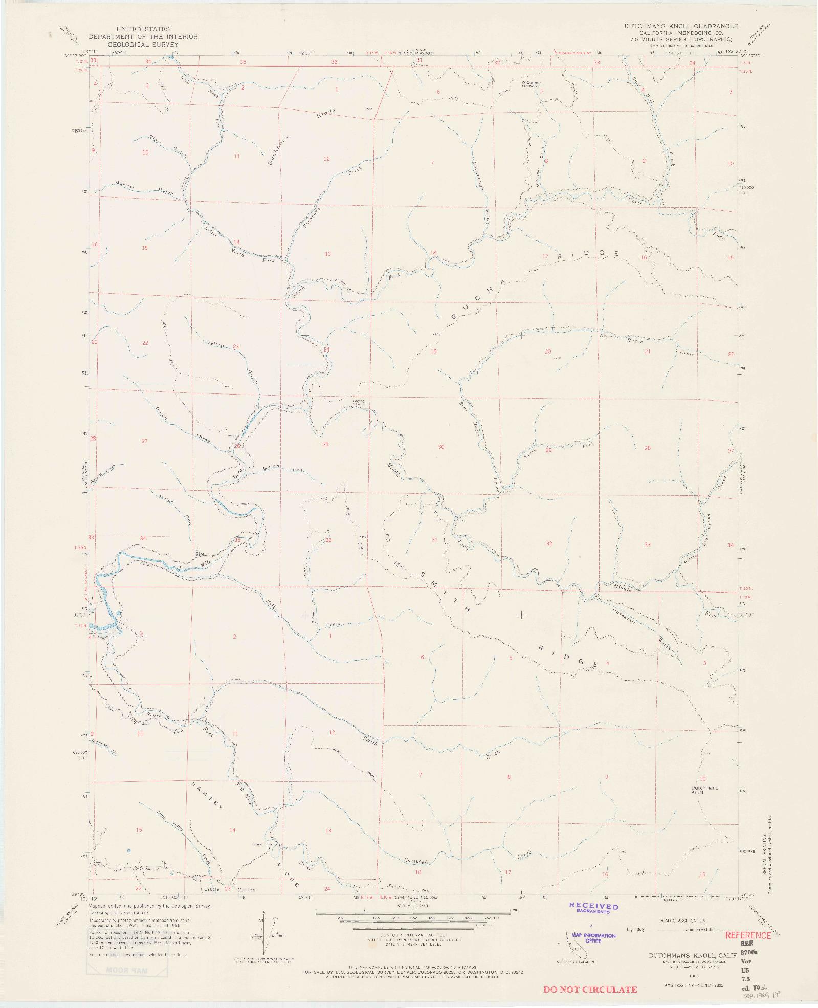 USGS 1:24000-SCALE QUADRANGLE FOR DUTCHMANS KNOLL, CA 1966