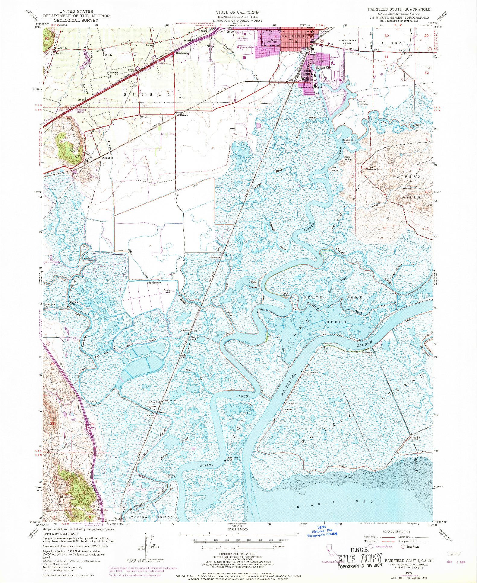 USGS 1:24000-SCALE QUADRANGLE FOR FAIRFIELD SOUTH, CA 1949