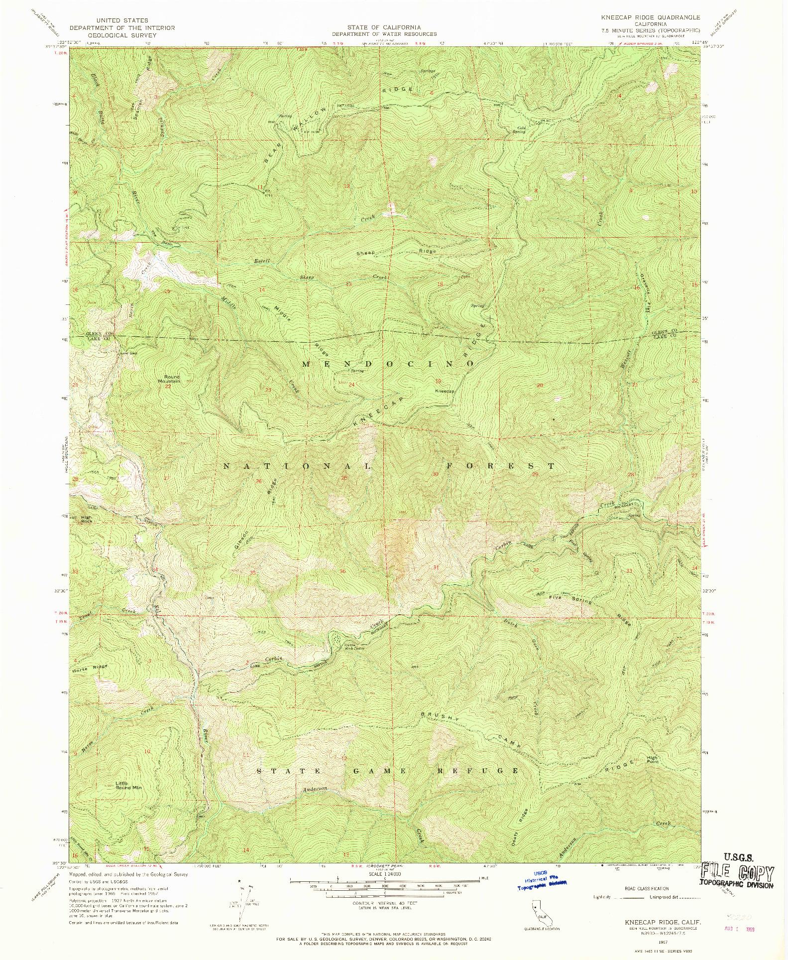 USGS 1:24000-SCALE QUADRANGLE FOR KNEECAP RIDGE, CA 1967