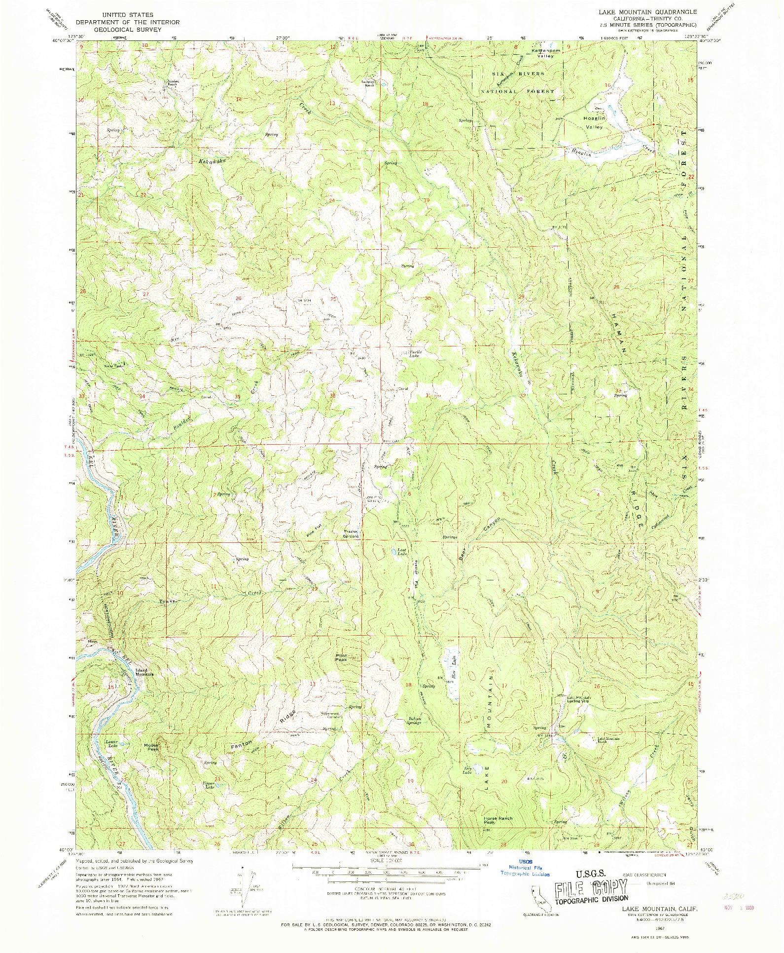 USGS 1:24000-SCALE QUADRANGLE FOR LAKE MOUNTAIN, CA 1967