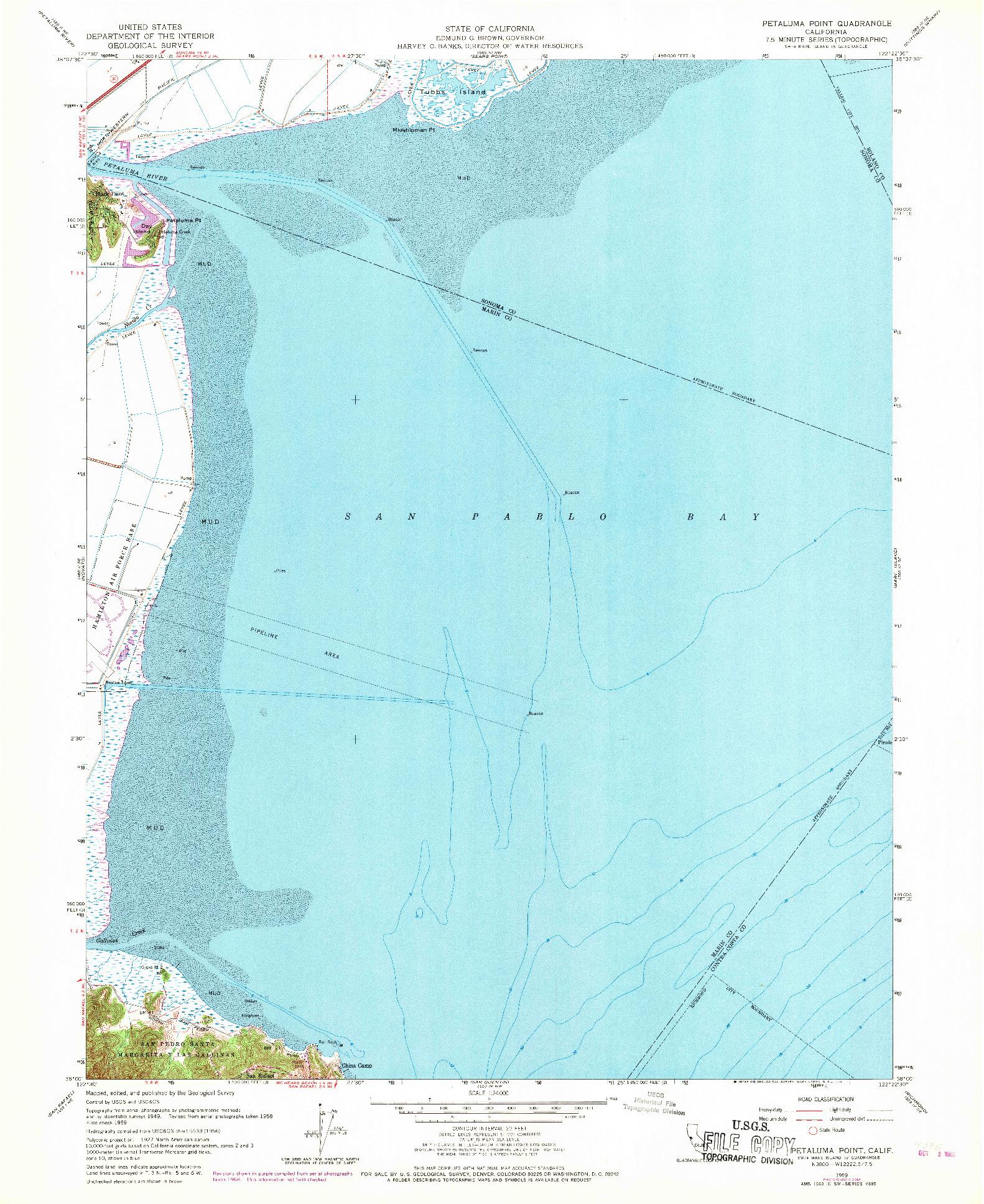USGS 1:24000-SCALE QUADRANGLE FOR PETALUMA POINT, CA 1959