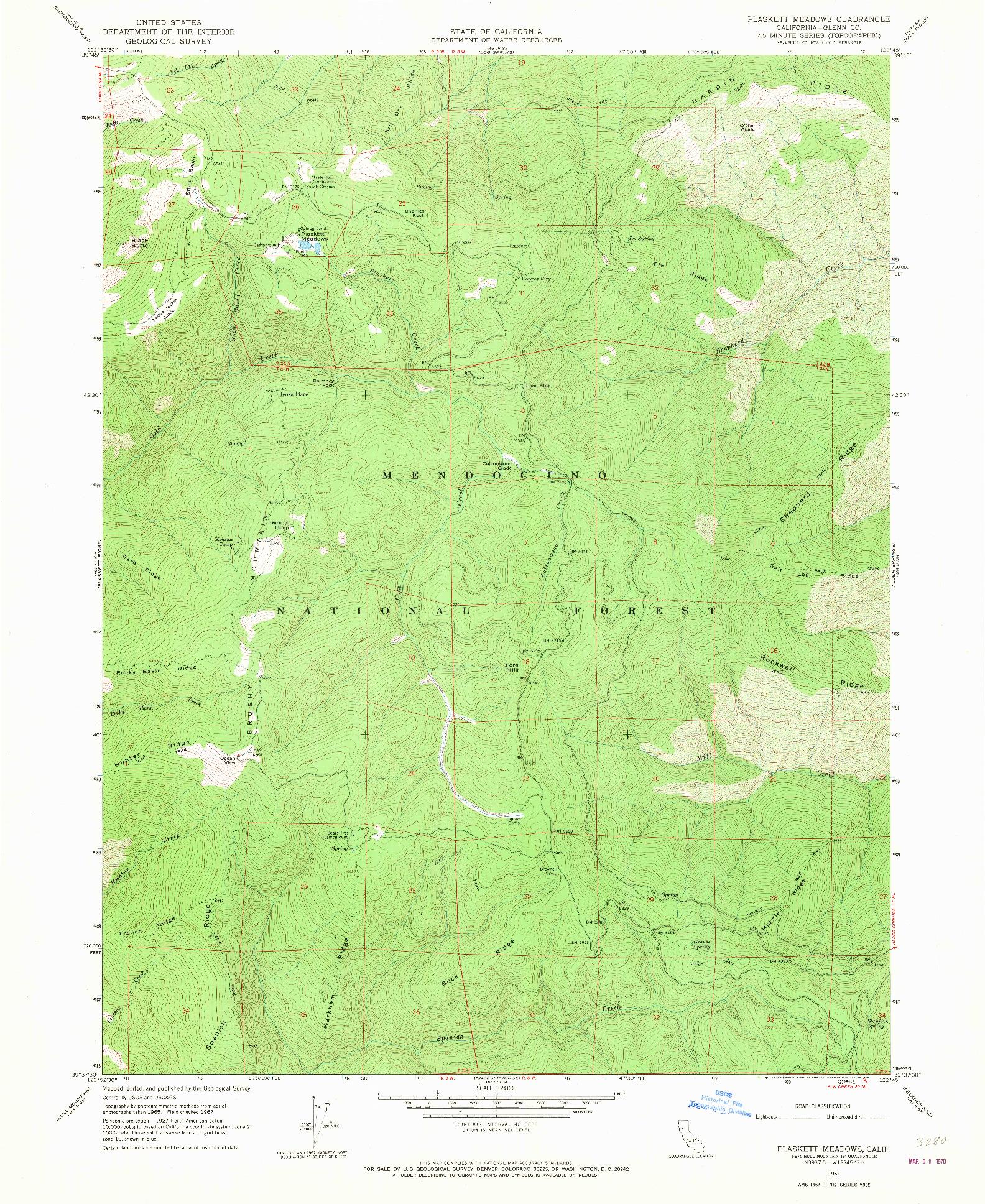 USGS 1:24000-SCALE QUADRANGLE FOR PLASKETT MEADOWS, CA 1967
