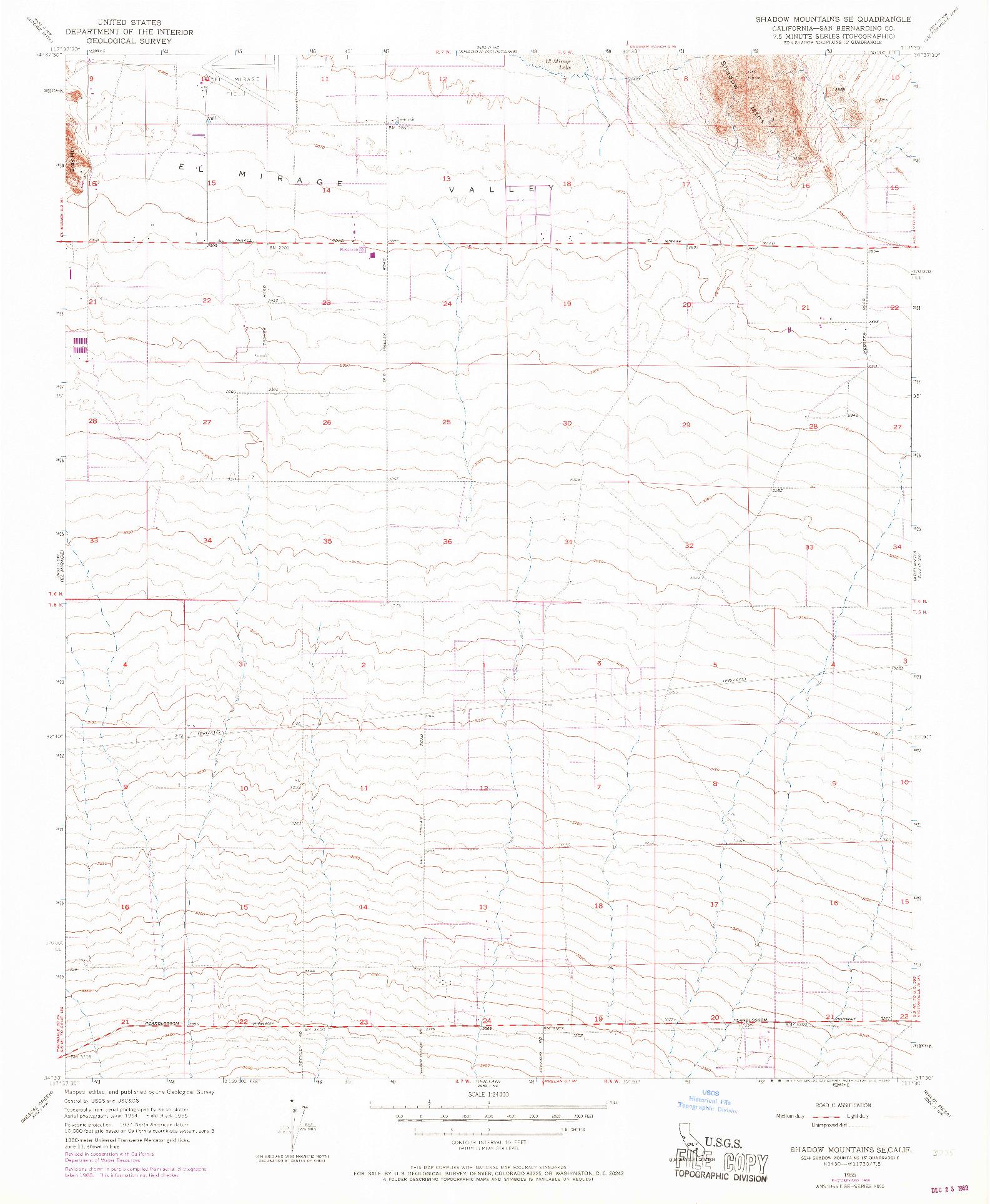 USGS 1:24000-SCALE QUADRANGLE FOR SHADOW MOUNTAINS SE, CA 1955